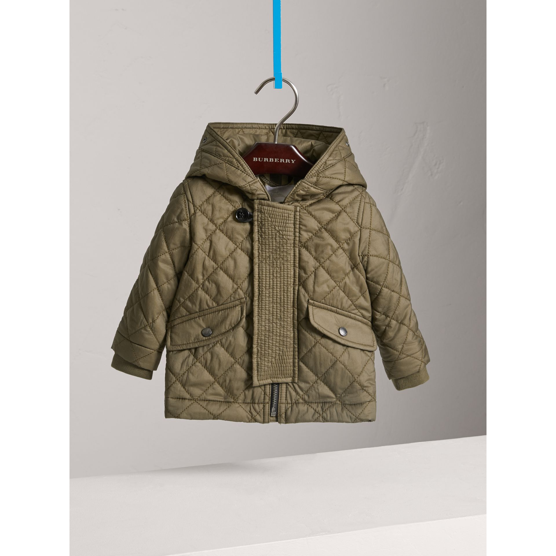 Hooded Diamond Quilted Jacket in Olive | Burberry - gallery image 2