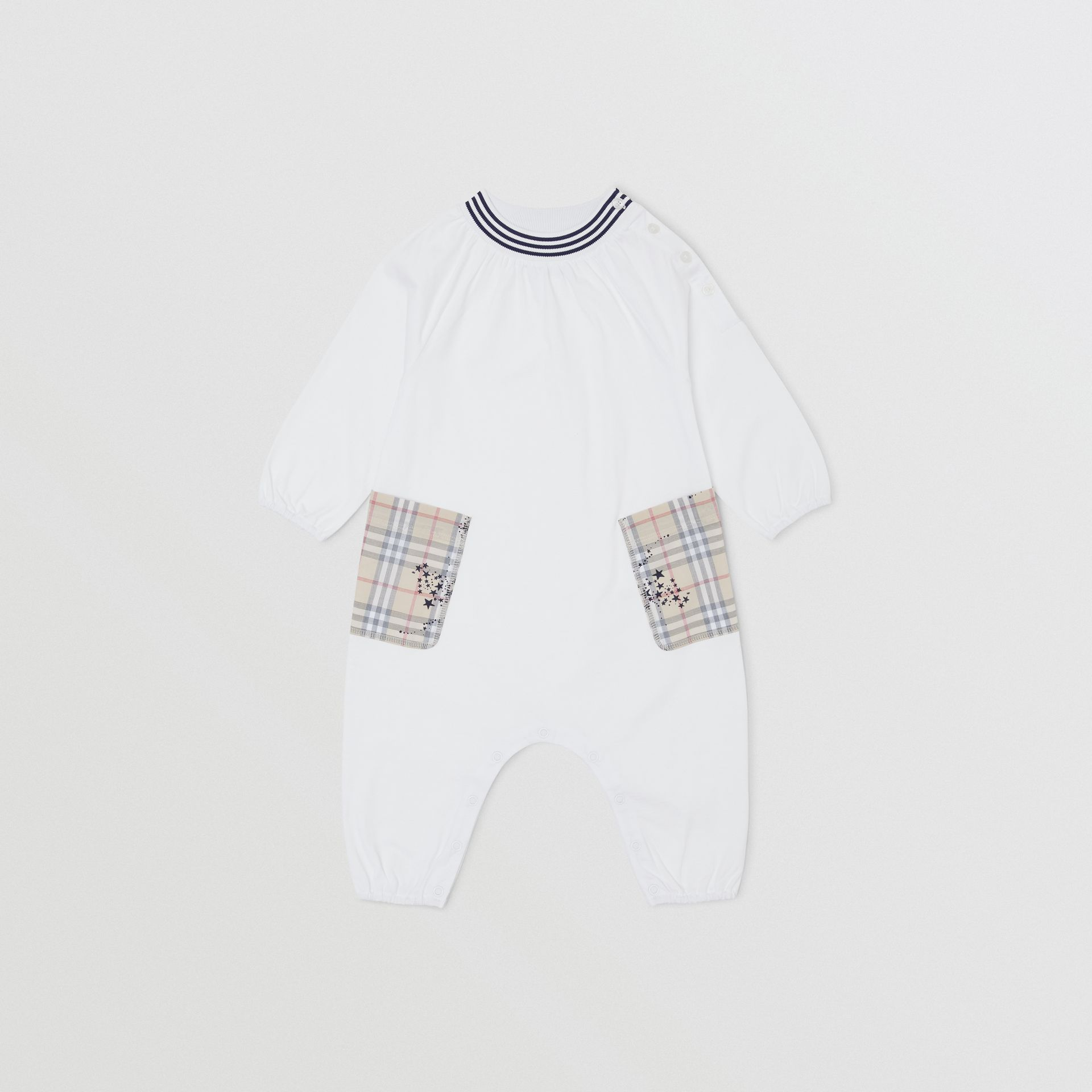 Star Print Check Trim Cotton Jumpsuit in White - Children | Burberry Hong Kong S.A.R - gallery image 0