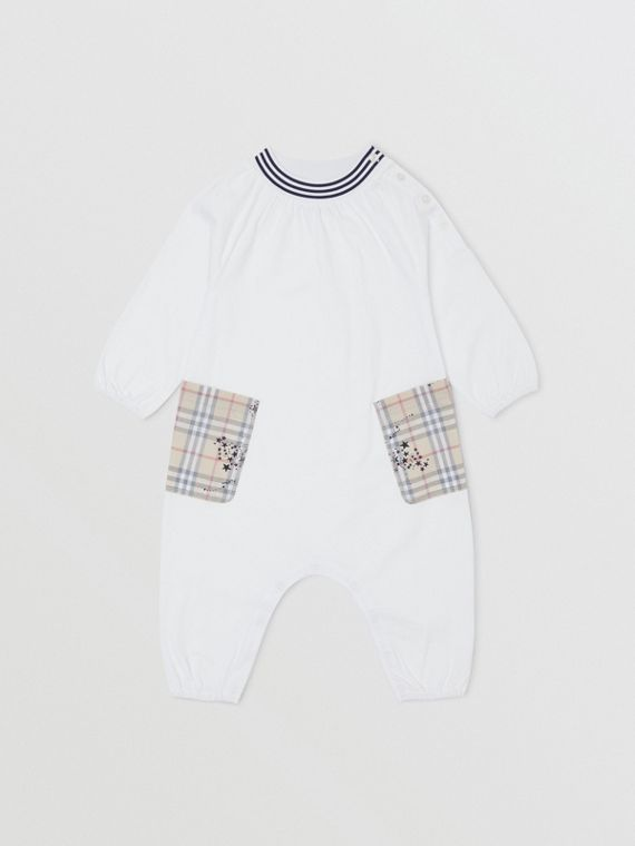 Star Print Check Trim Cotton Jumpsuit in White