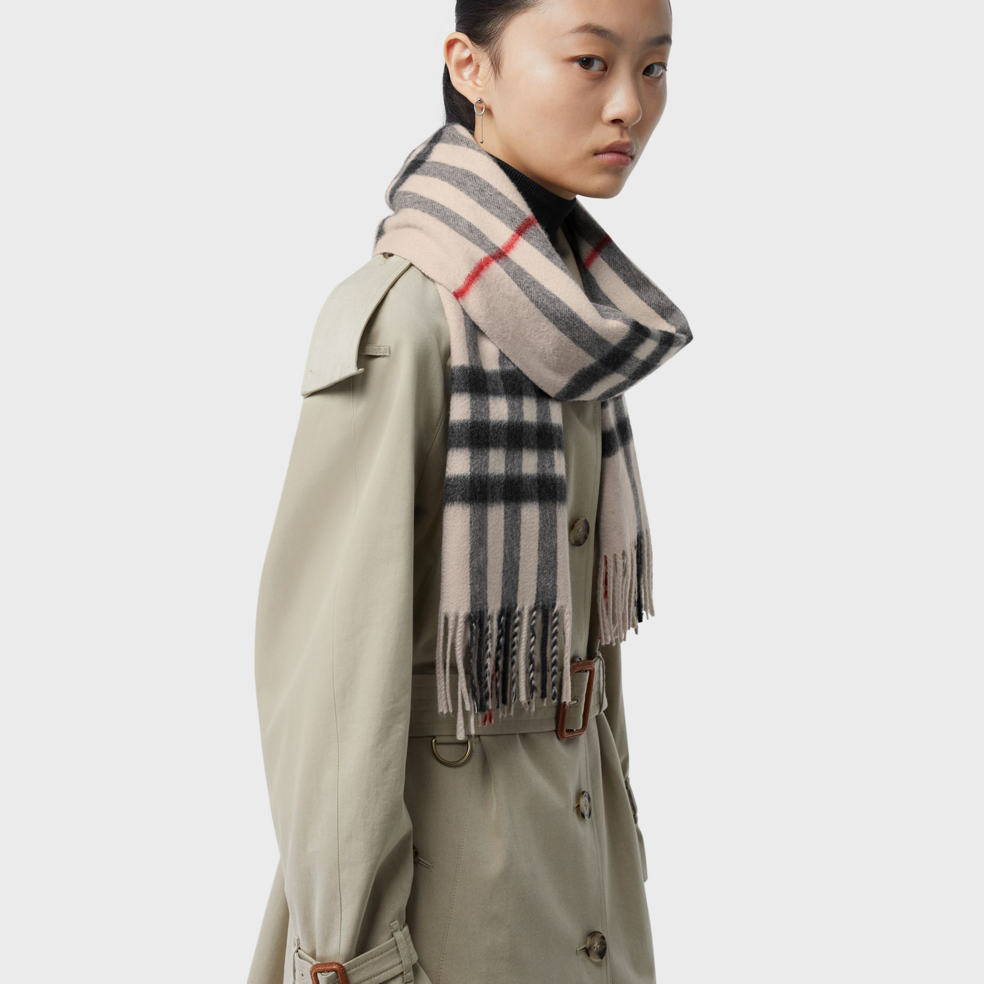 The Classic Check Cashmere Scarf in Stone | Burberry United Kingdom - gallery image 5