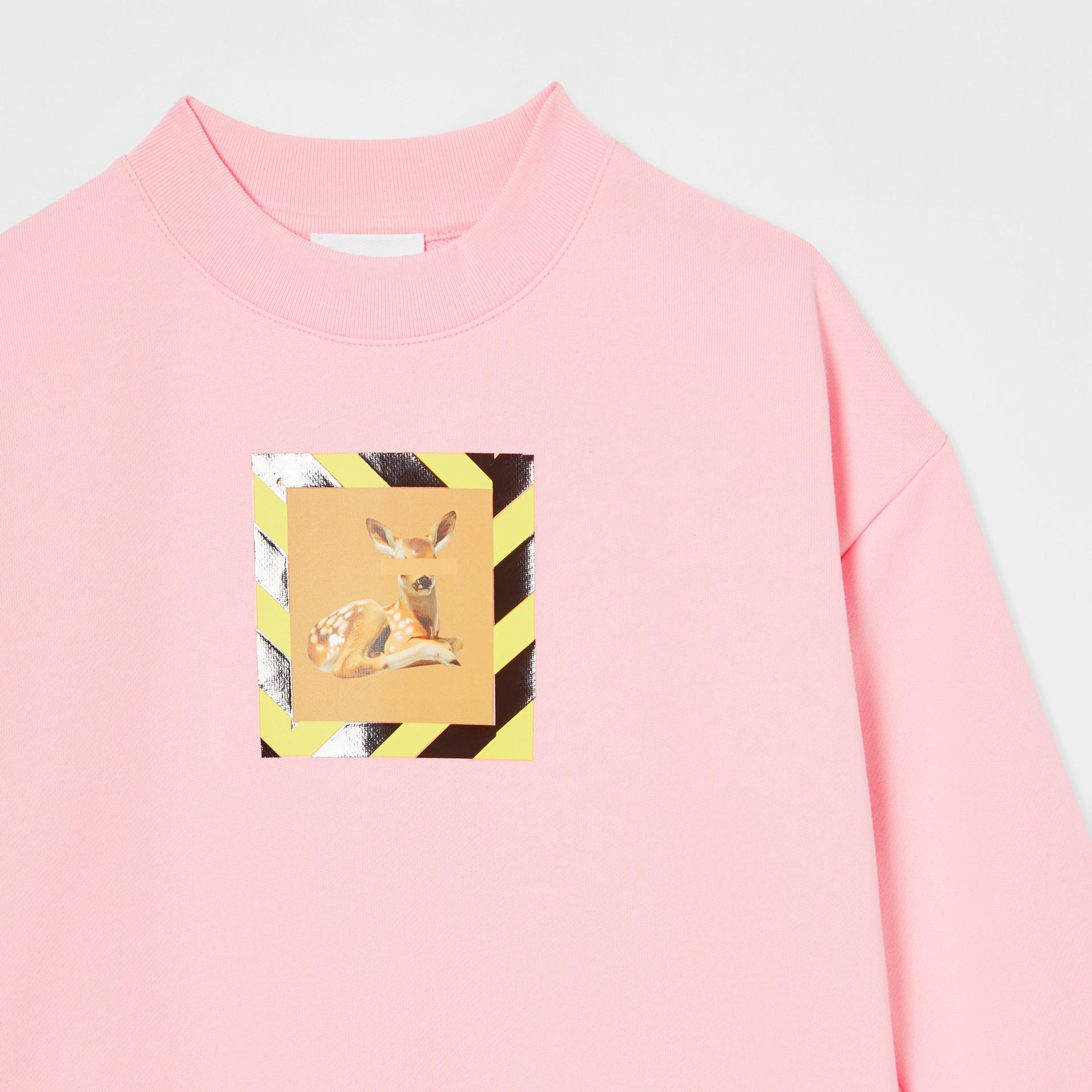 Deer Print Cotton Sweatshirt in Candy Pink | Burberry Australia - gallery image 4