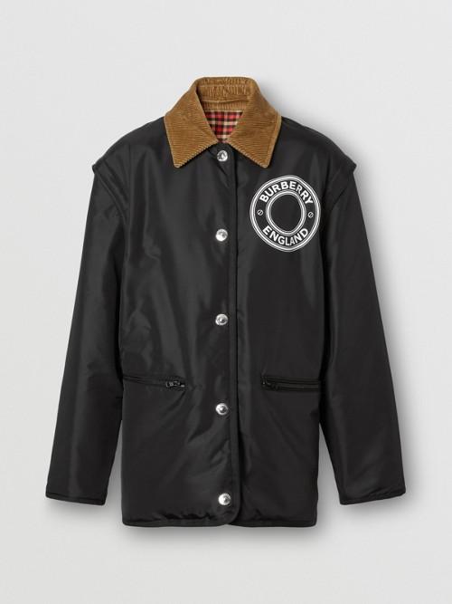 BURBERRY Jackets Detachable Sleeve Reversible Logo Graphic Jacket