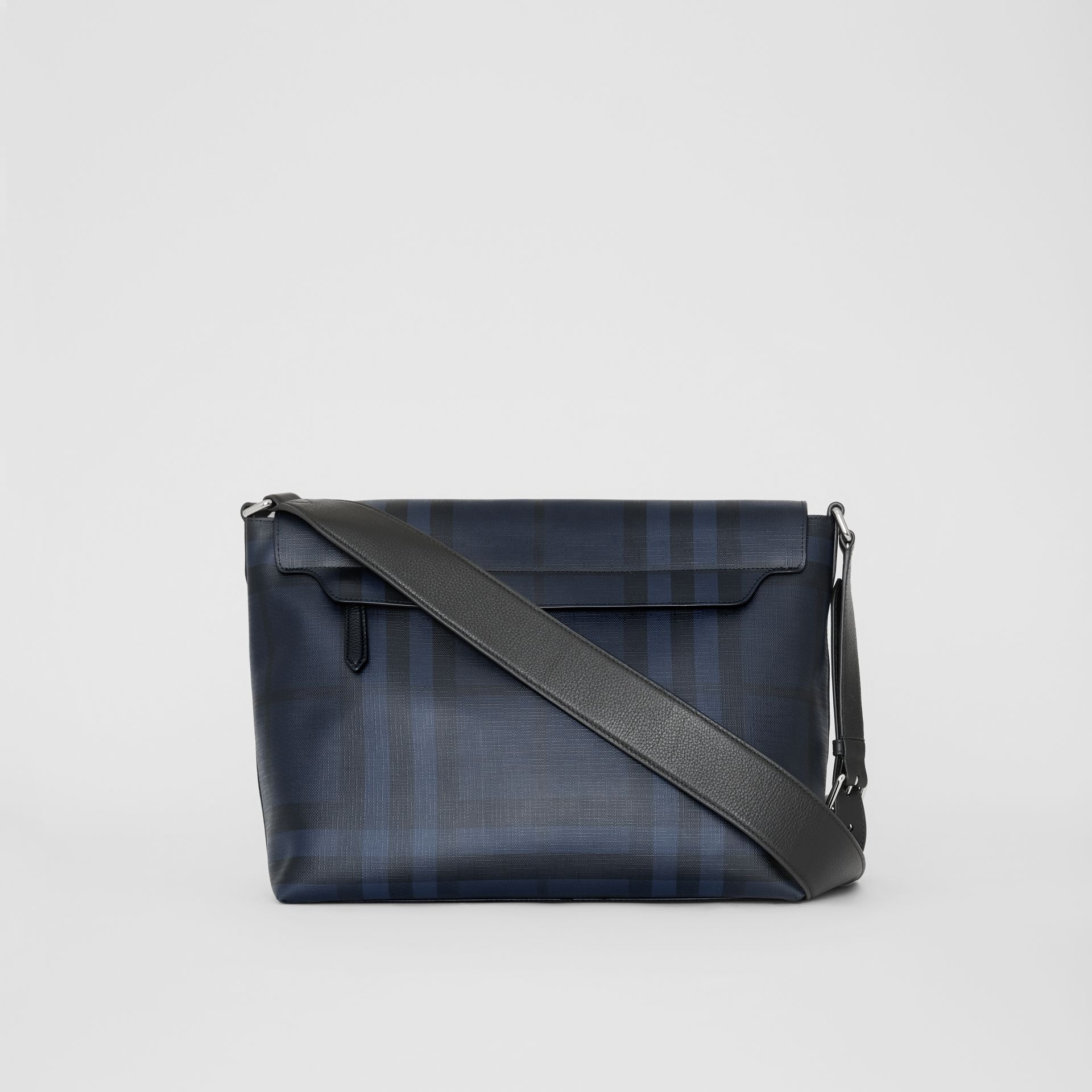 Large London Check Messenger Bag in Navy/black | Burberry United Kingdom - gallery image 7