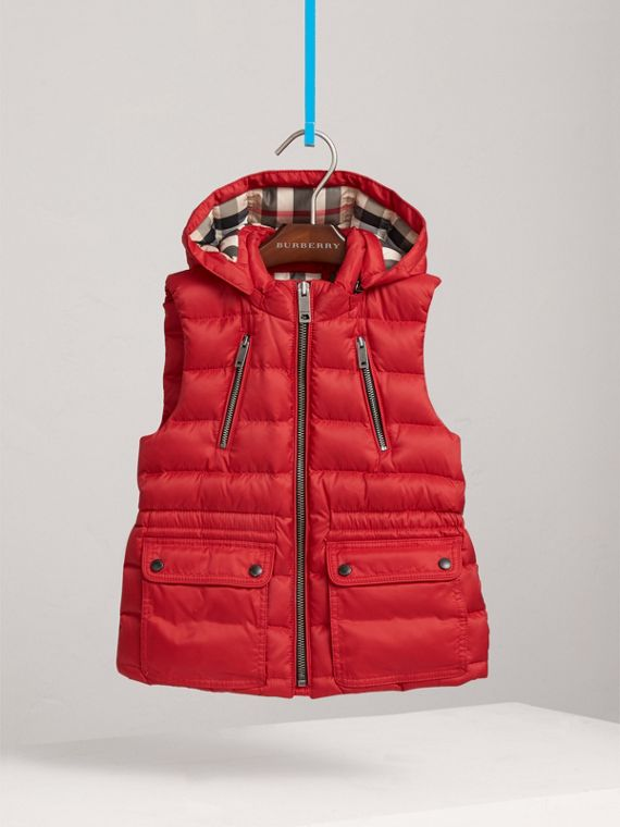 Detachable Hood Down-filled Gilet in Bright Cherry Red - Girl | Burberry - cell image 2