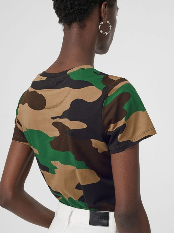 Camouflage Print Cotton Jersey T-shirt in Forest Green - Women | Burberry - cell image 1
