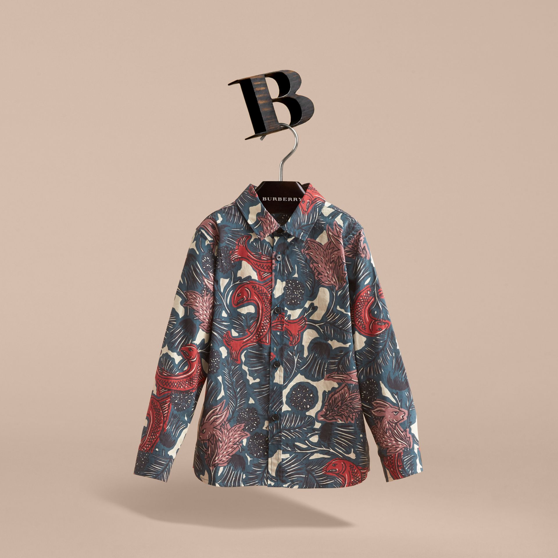 Beasts Print Cotton Shirt in Mineral Blue - Boy | Burberry - gallery image 3