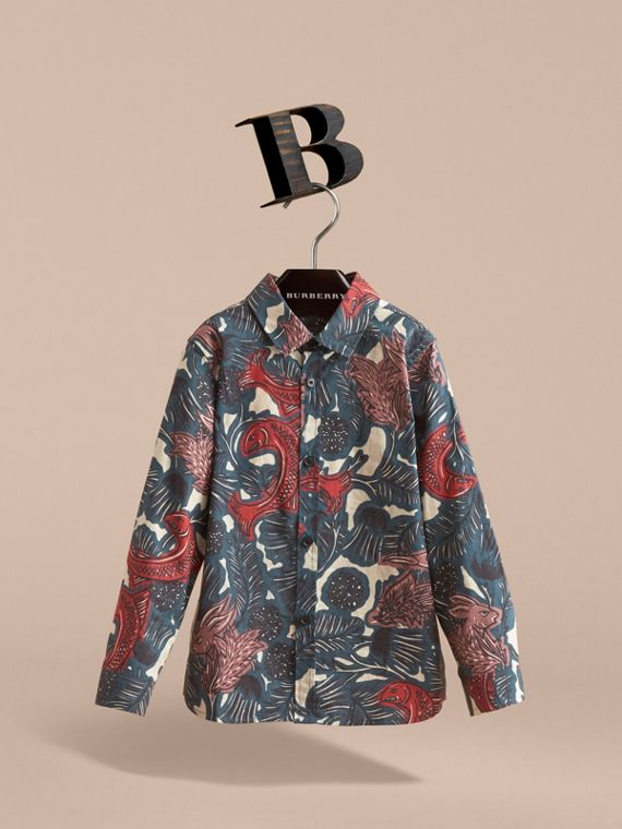 Beasts Print Cotton Shirt in Mineral Blue - Boy | Burberry - cell image 2