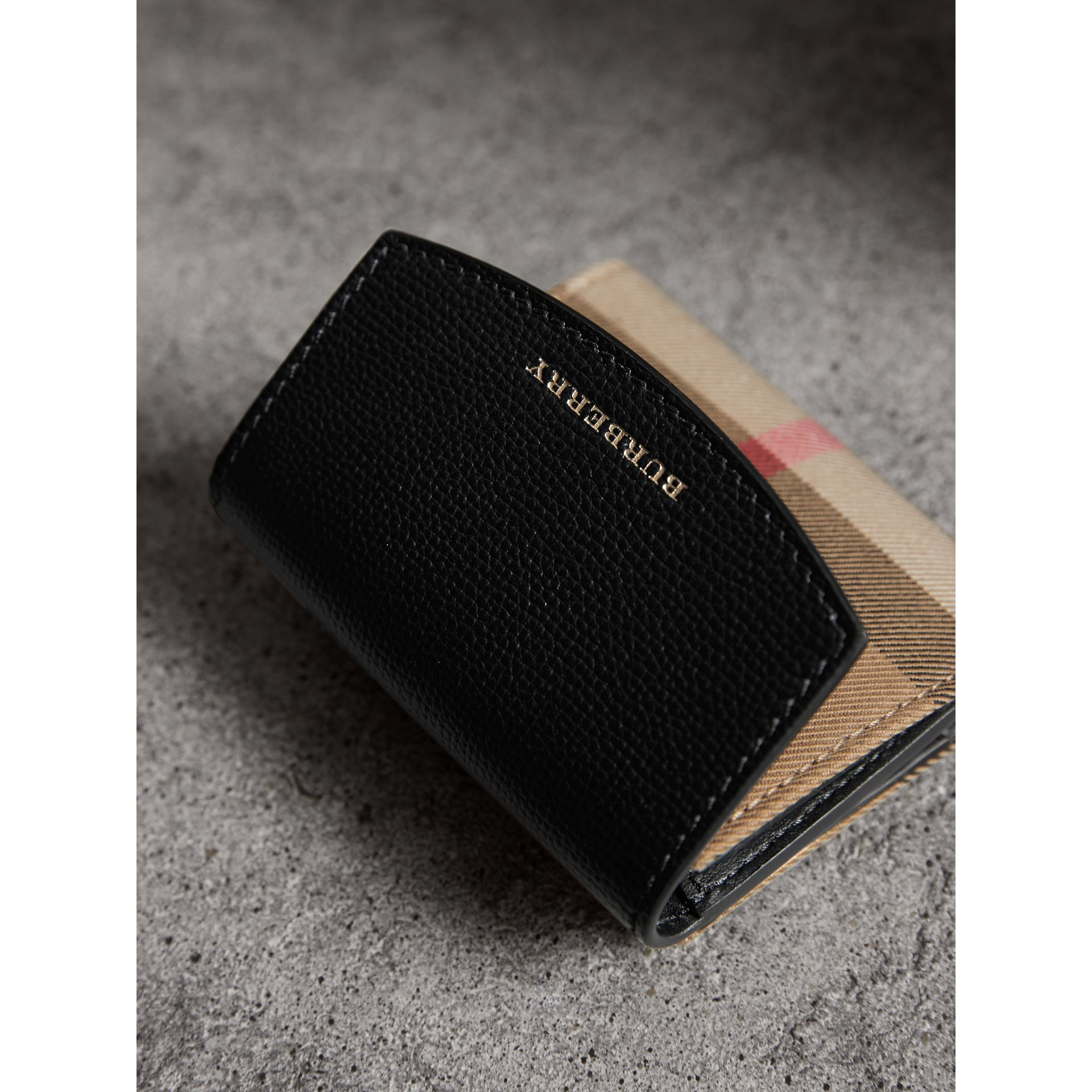 House Check and Leather Wallet in Black - Women | Burberry Canada - gallery image 4