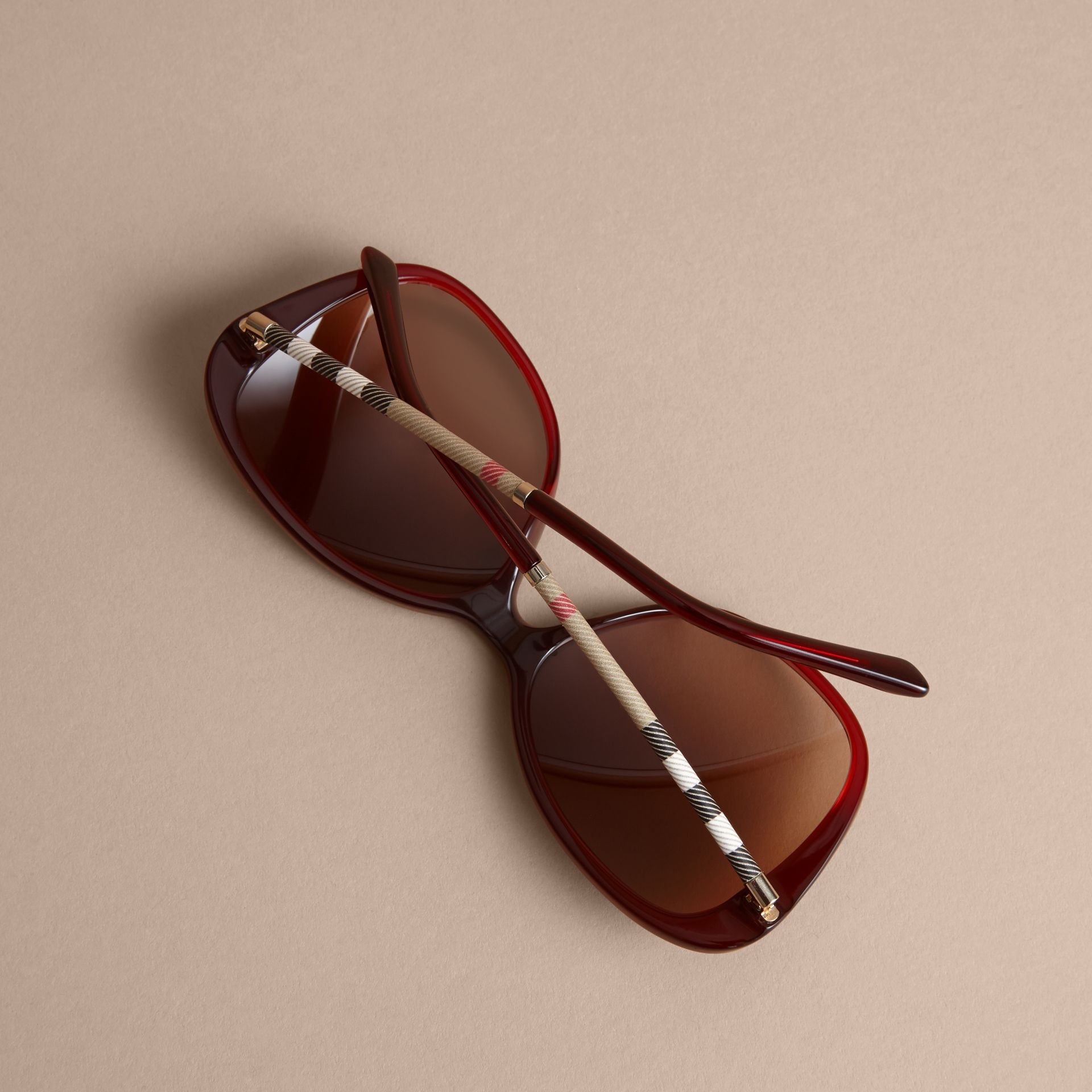 Check Detail Butterfly Frame Sunglasses Oxblood - gallery image 4