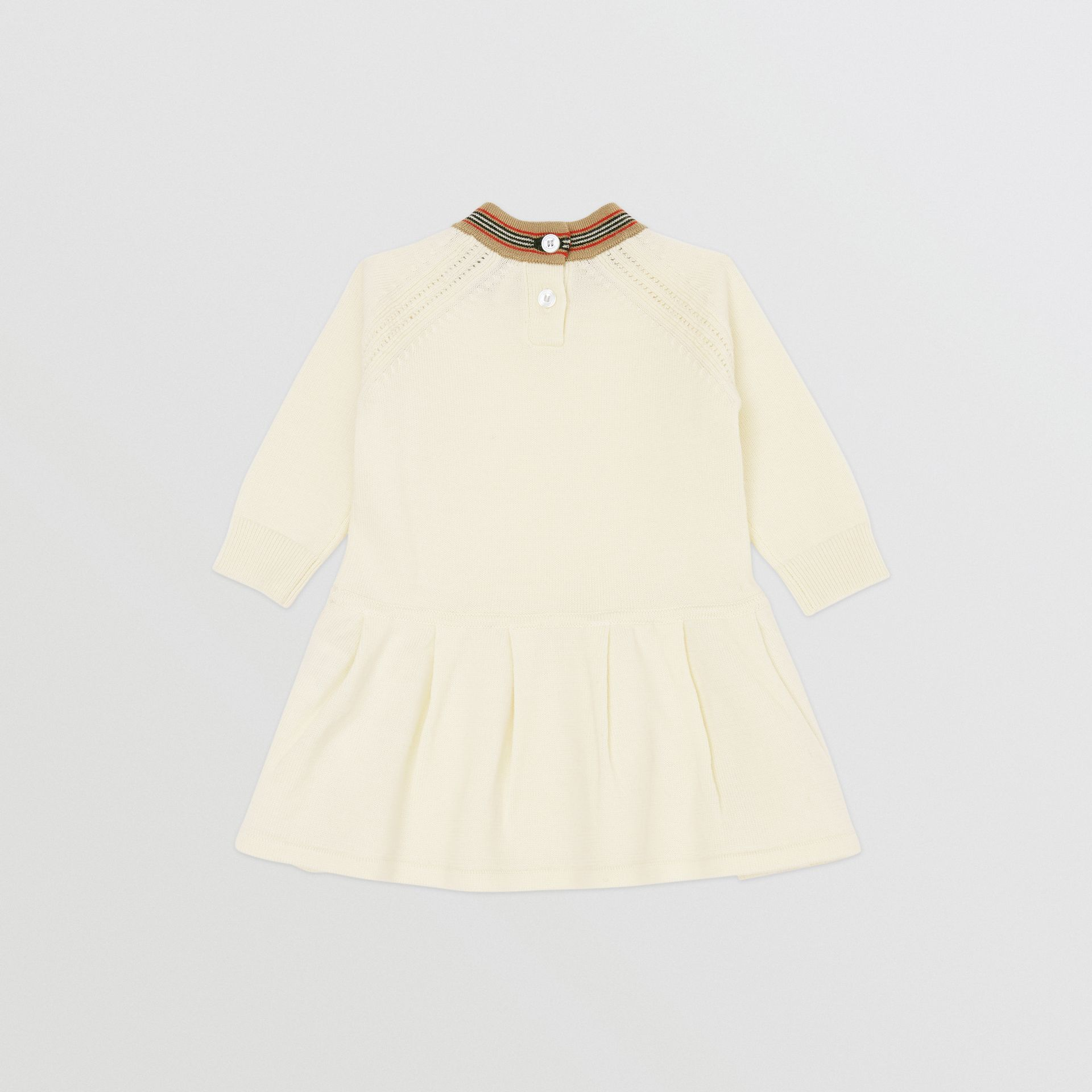 Icon Stripe Trim Merino Wool Dress in Ivory - Children | Burberry United States - gallery image 3