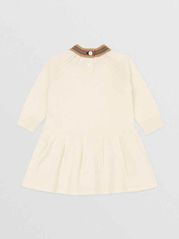 Icon Stripe Trim Merino Wool Dress in Ivory - Children | Burberry United Kingdom - cell image 3