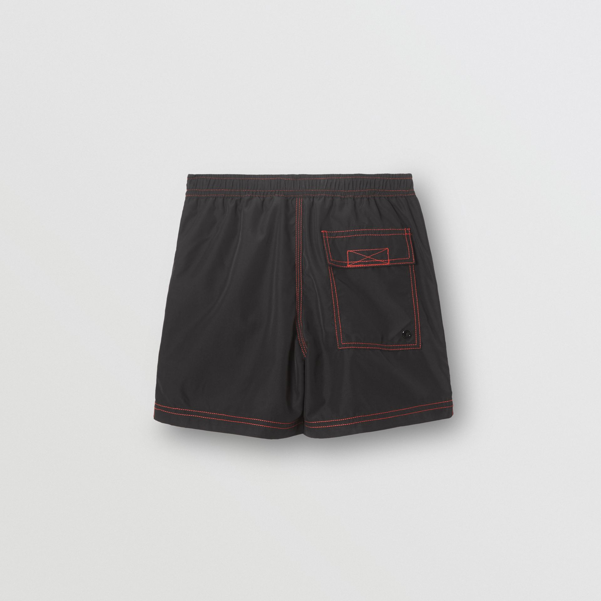Logo Print Drawcord Swim Shorts in Black | Burberry Canada - gallery image 3