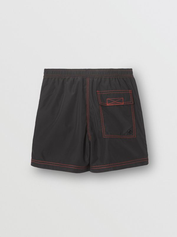 Logo Print Drawcord Swim Shorts in Black | Burberry - cell image 3