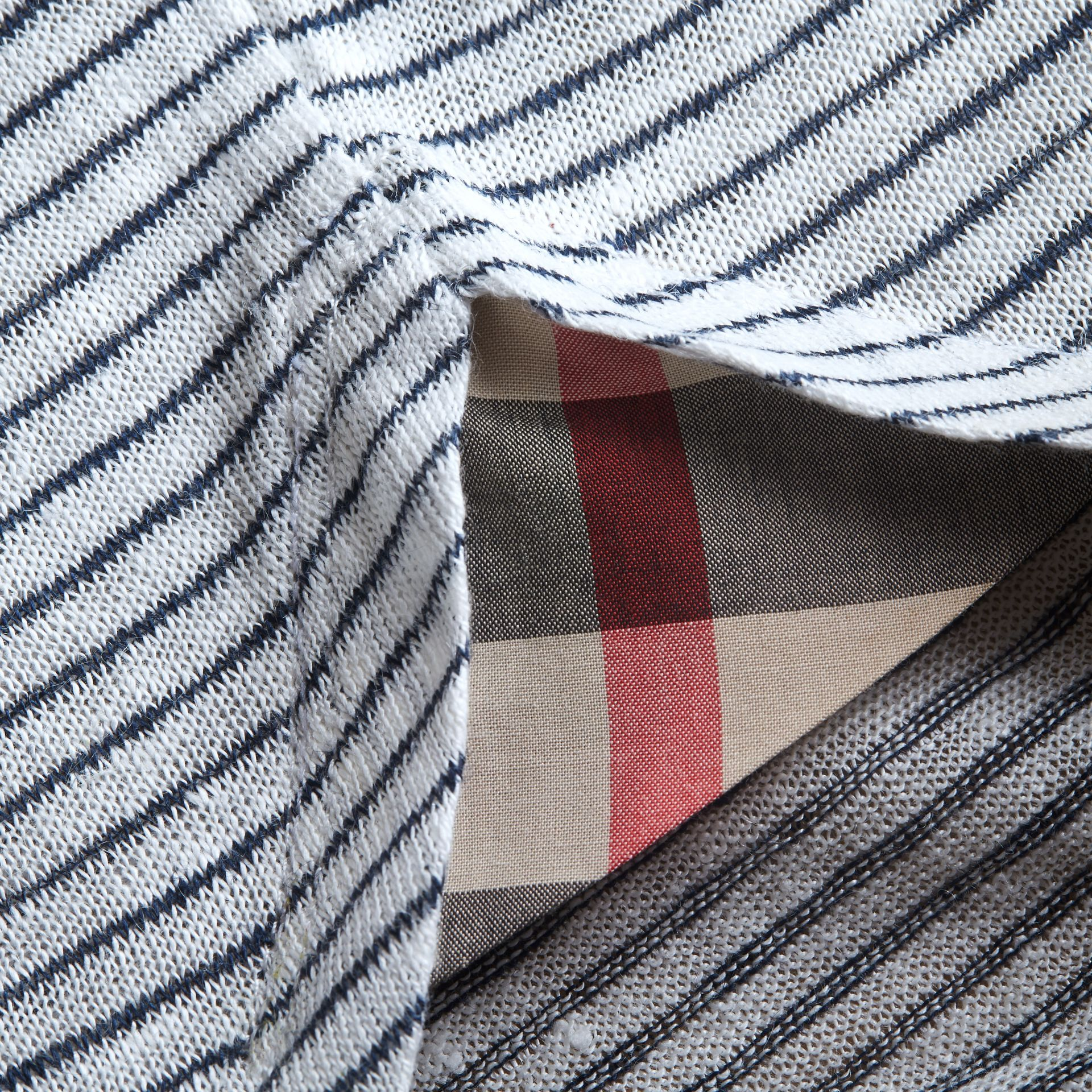 Bell-sleeve Check Detail Striped Linen T-shirt in Natural White/navy - gallery image 2