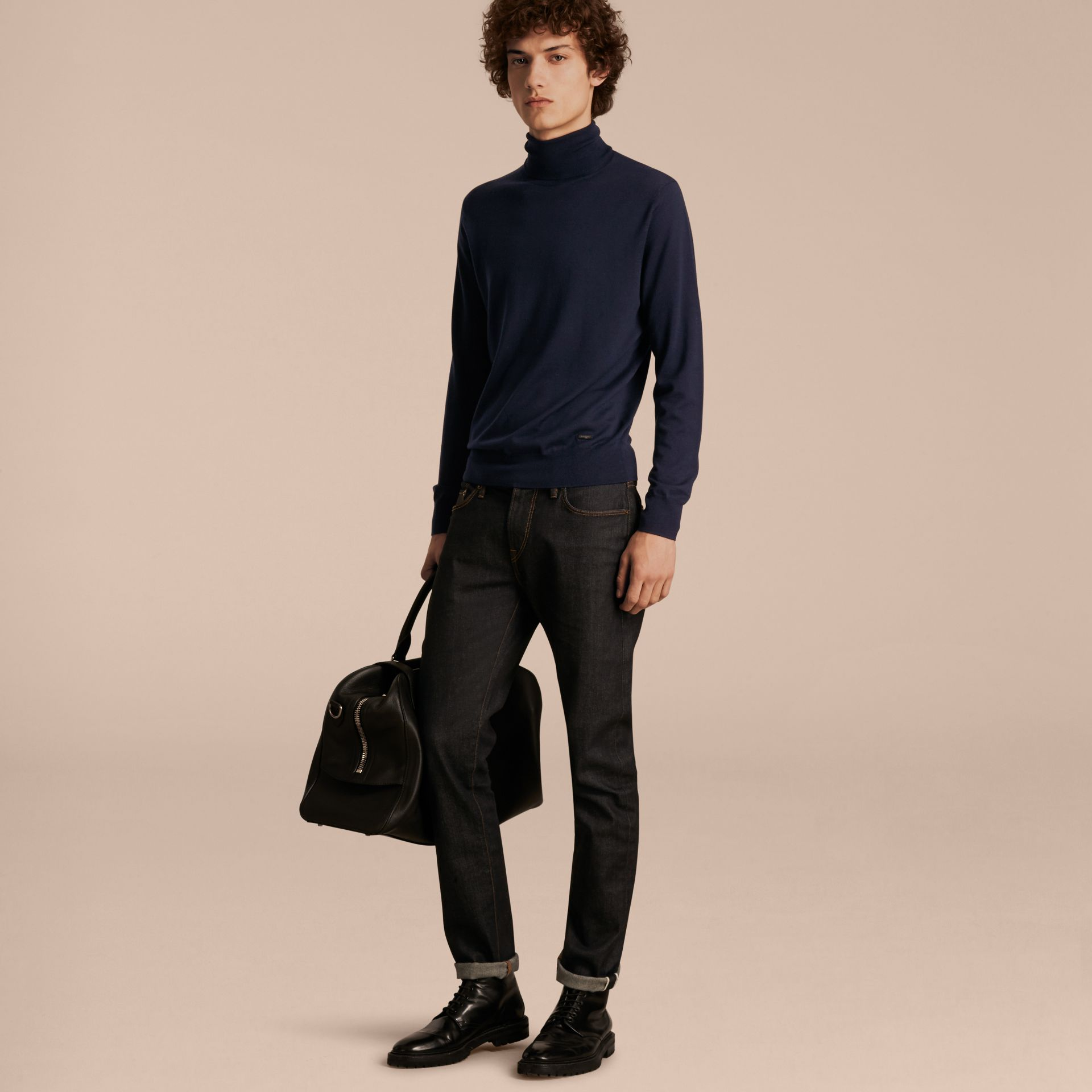 Navy Merino Wool Roll-neck Sweater Navy - gallery image 6
