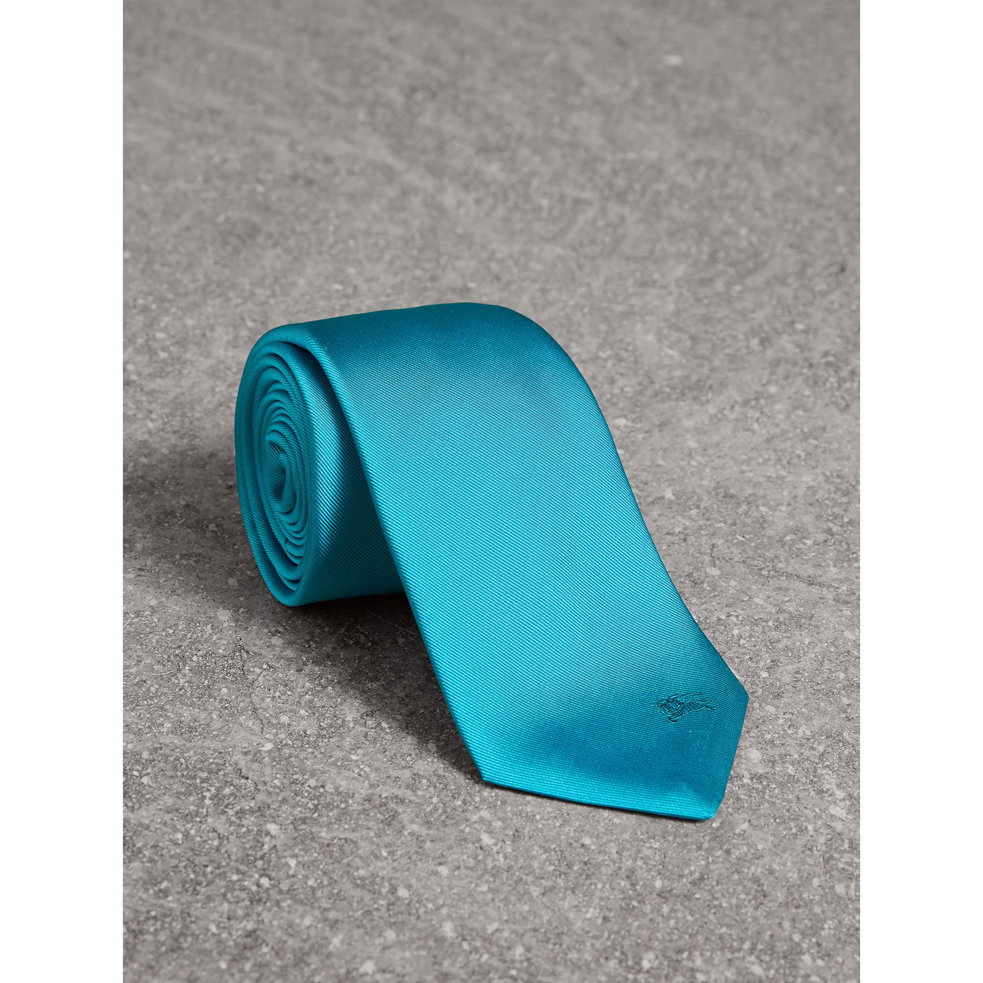 Modern Cut Silk Tie in Bright Aqua - Men | Burberry - gallery image 0