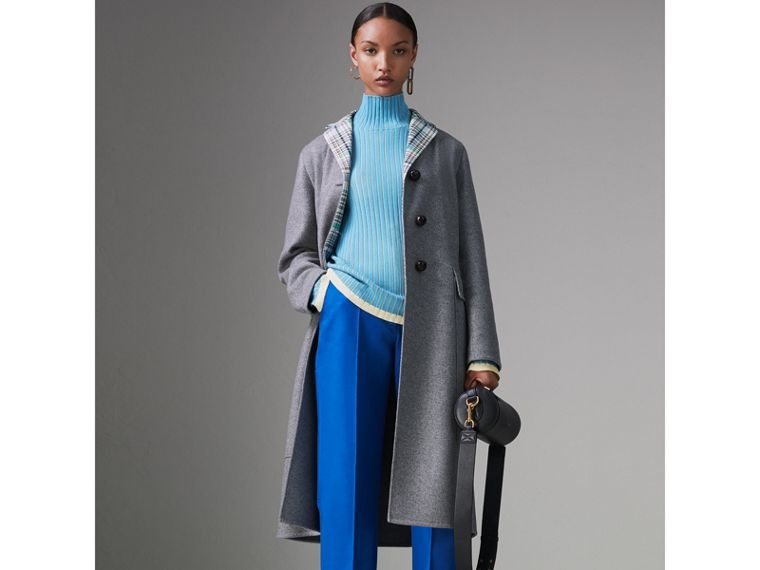 Silk Cashmere Turtleneck Sweater in Pale Blue - Women | Burberry - cell image 4
