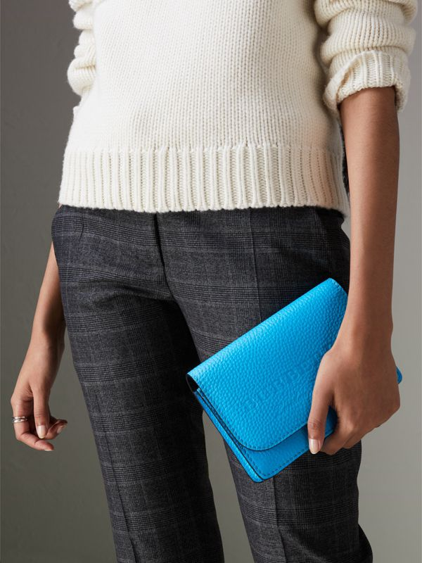 Embossed Leather Wallet with Detachable Strap in Bright Blue - Women | Burberry - cell image 3