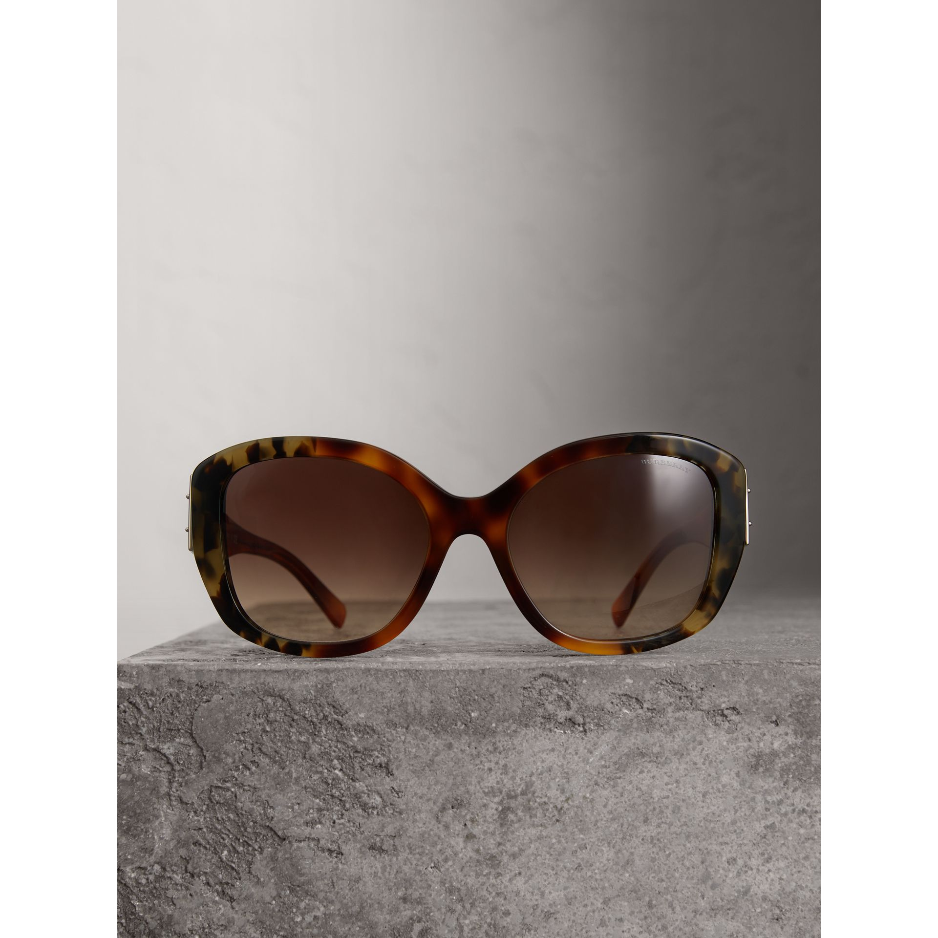 Buckle Detail Oversize Square Frame Sunglasses in Dark Ochre - Women | Burberry - gallery image 3