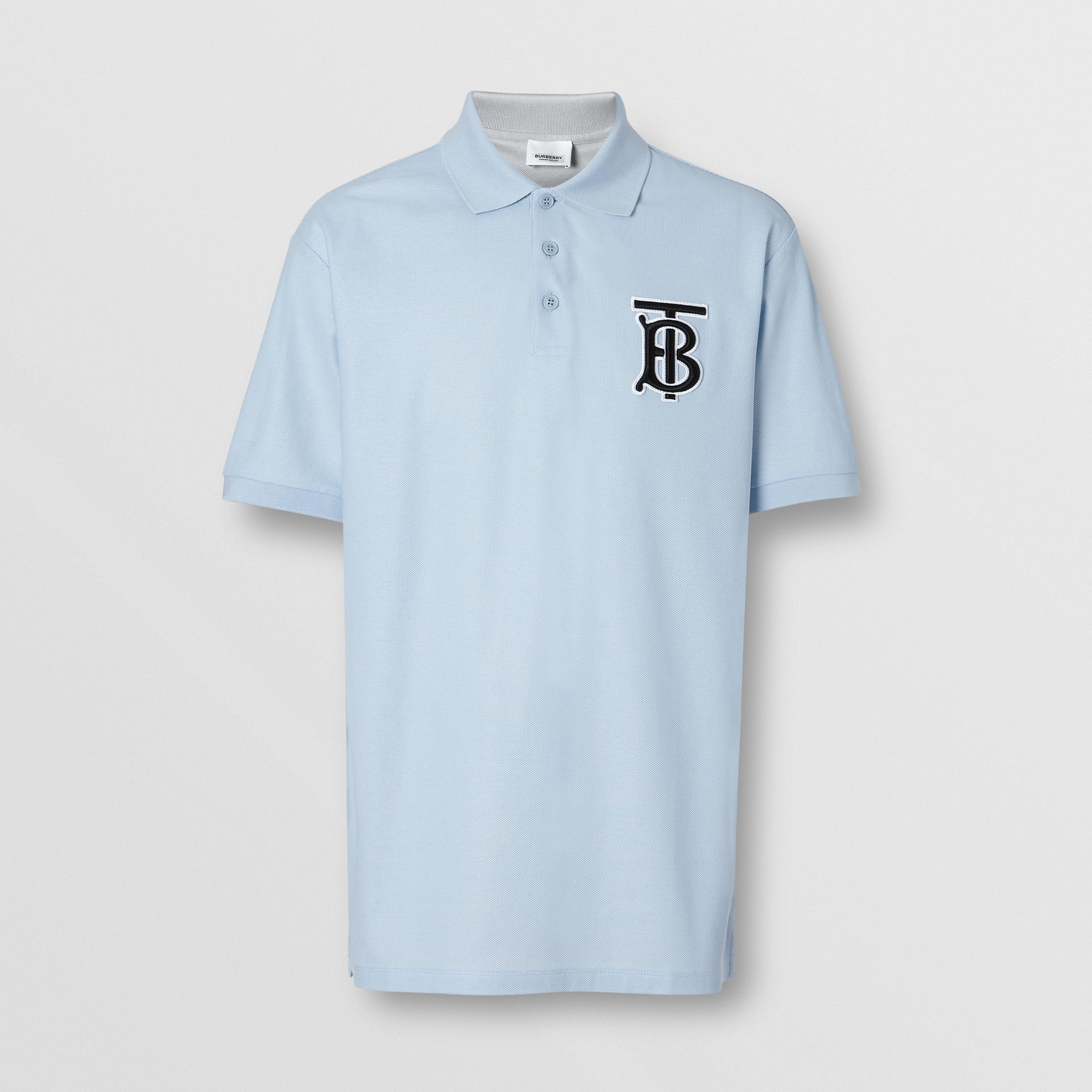 Monogram Motif Cotton Piqué Oversized Polo Shirt in Pale Blue - Men | Burberry United Kingdom - gallery image 3