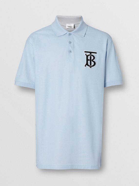 Monogram Motif Cotton Piqué Oversized Polo Shirt in Pale Blue