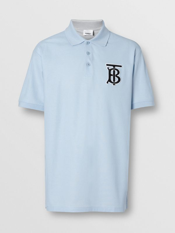 Monogram Motif Cotton Piqué Oversized Polo Shirt in Pale Blue - Men | Burberry Australia - cell image 3