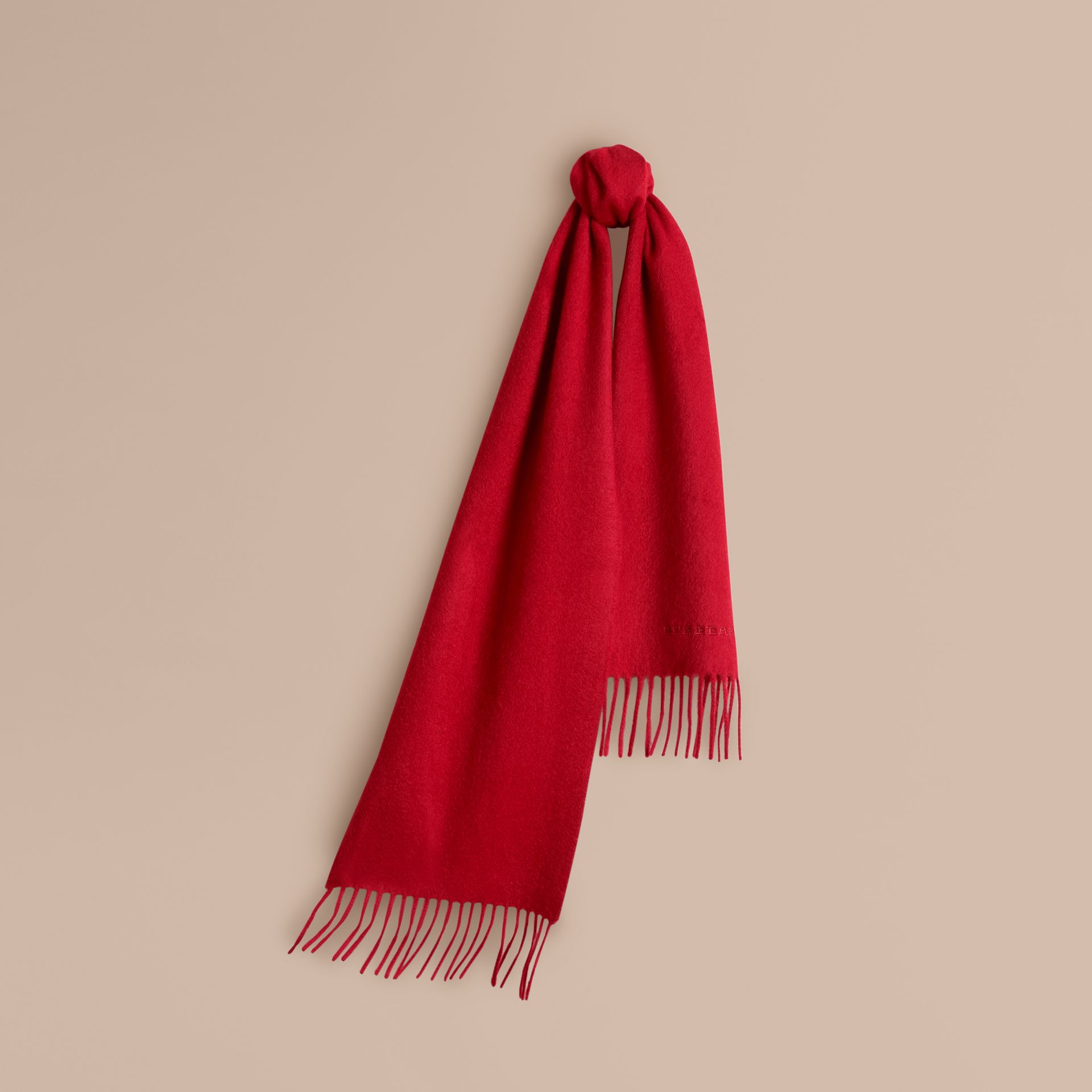 The Mini Classic Cashmere Scarf in Parade Red | Burberry United Kingdom - gallery image 5