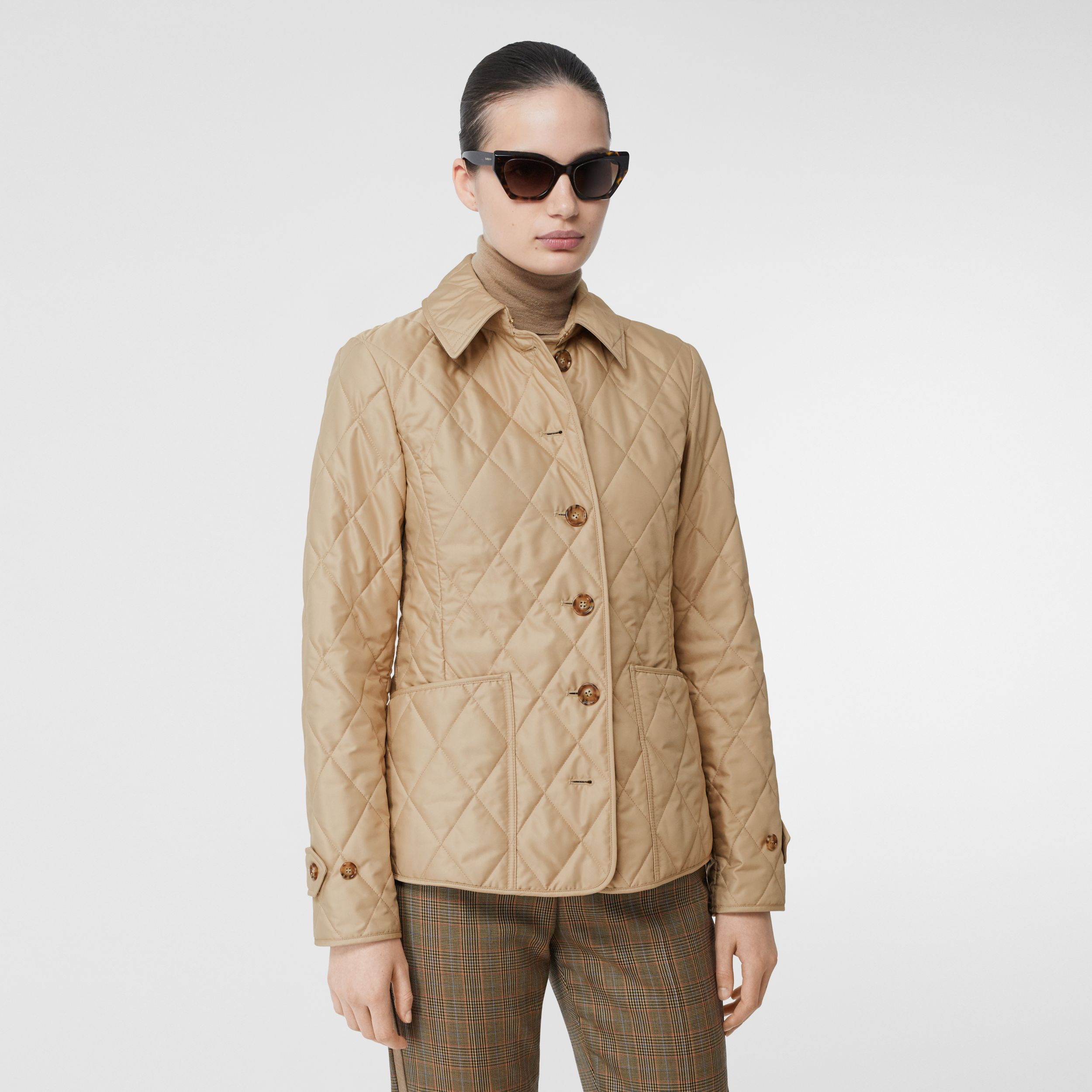Diamond Quilted Thermoregulated Jacket in New Chino - Women | Burberry - 1