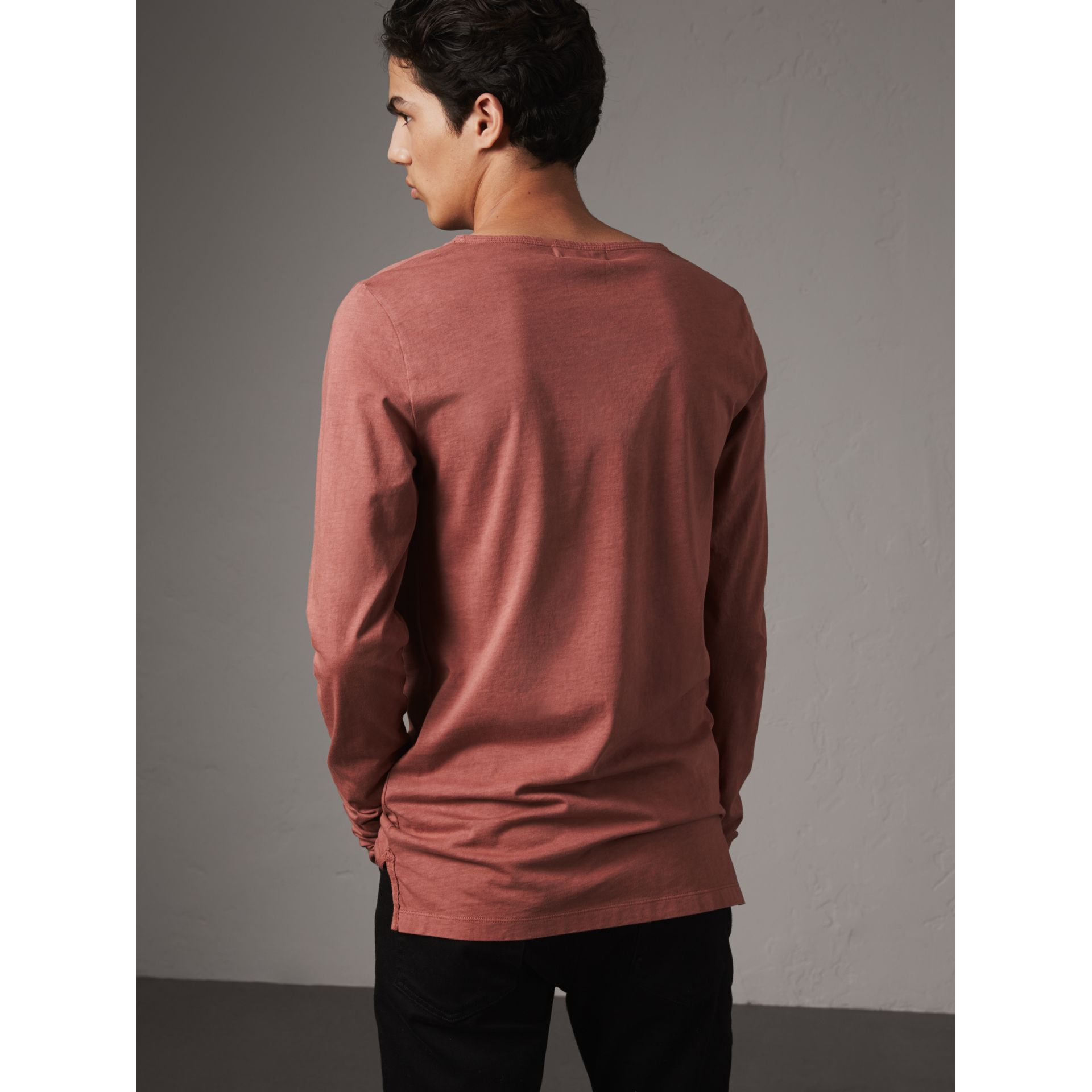 Long-sleeve Embroidered Cotton Top in Rosewood - Men | Burberry - gallery image 3