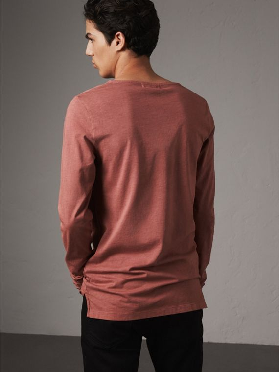 Long-sleeve Embroidered Cotton Top in Rosewood - Men | Burberry - cell image 2
