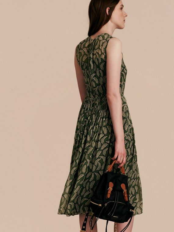 Dusty green Leaf Print Silk Midi Dress - cell image 2