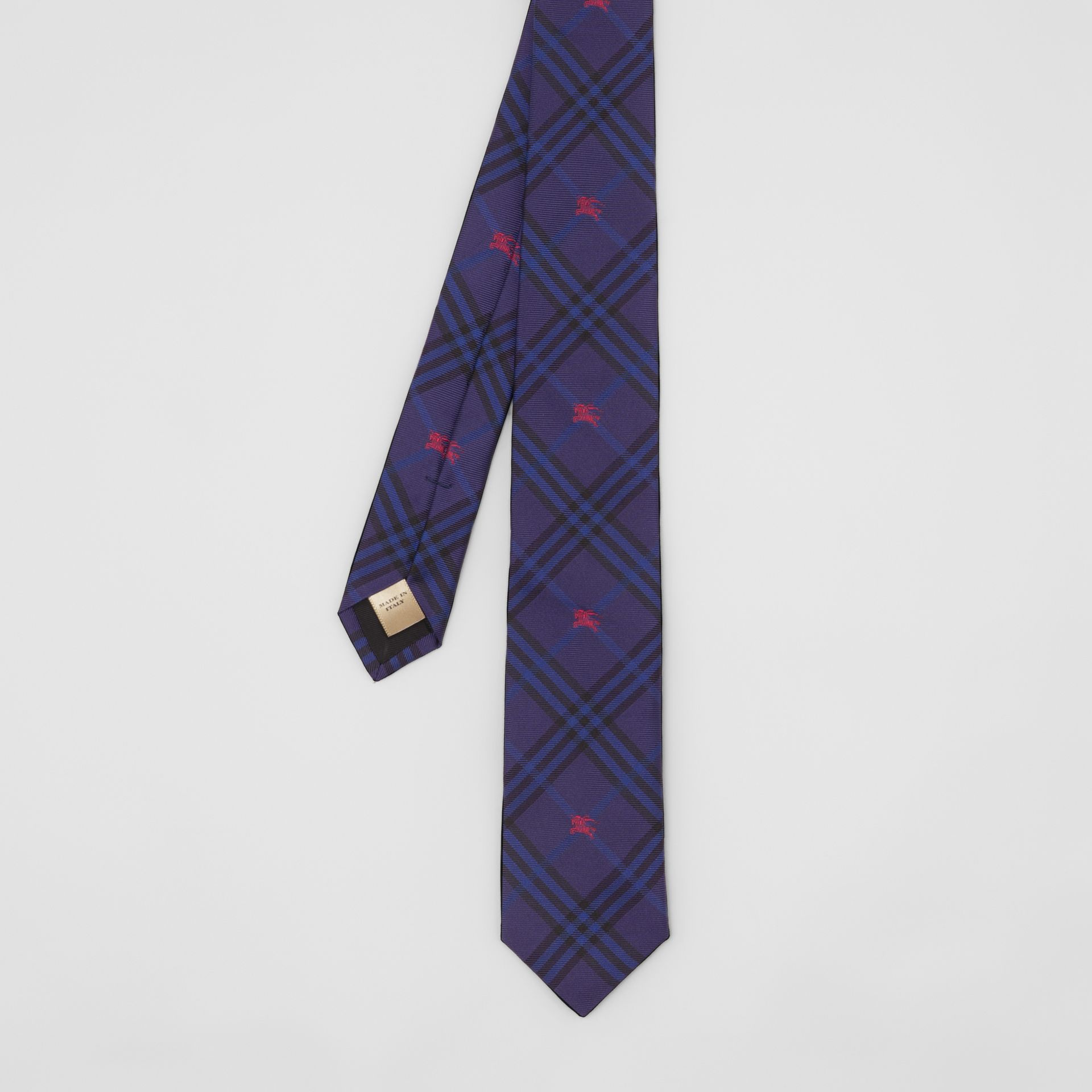 Slim Cut Equestrian Knight Check Silk Tie in Dark Indigo Blue - Men | Burberry - gallery image 3