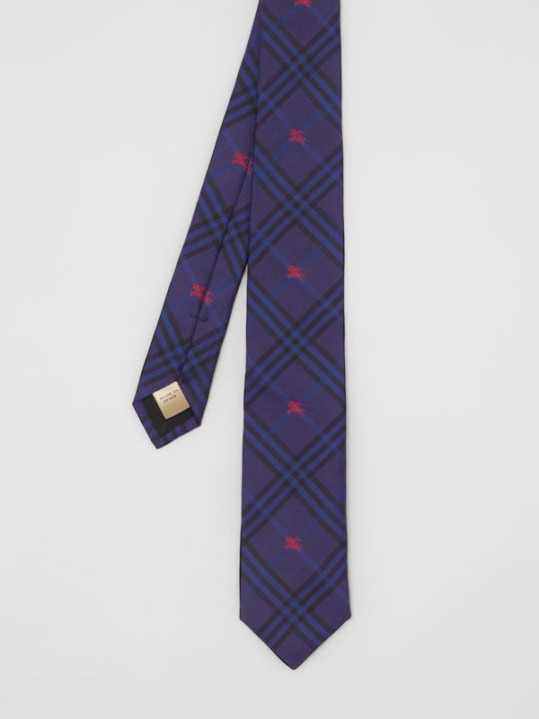 Slim Cut Equestrian Knight Check Silk Tie in Dark Indigo Blue - Men | Burberry - cell image 3