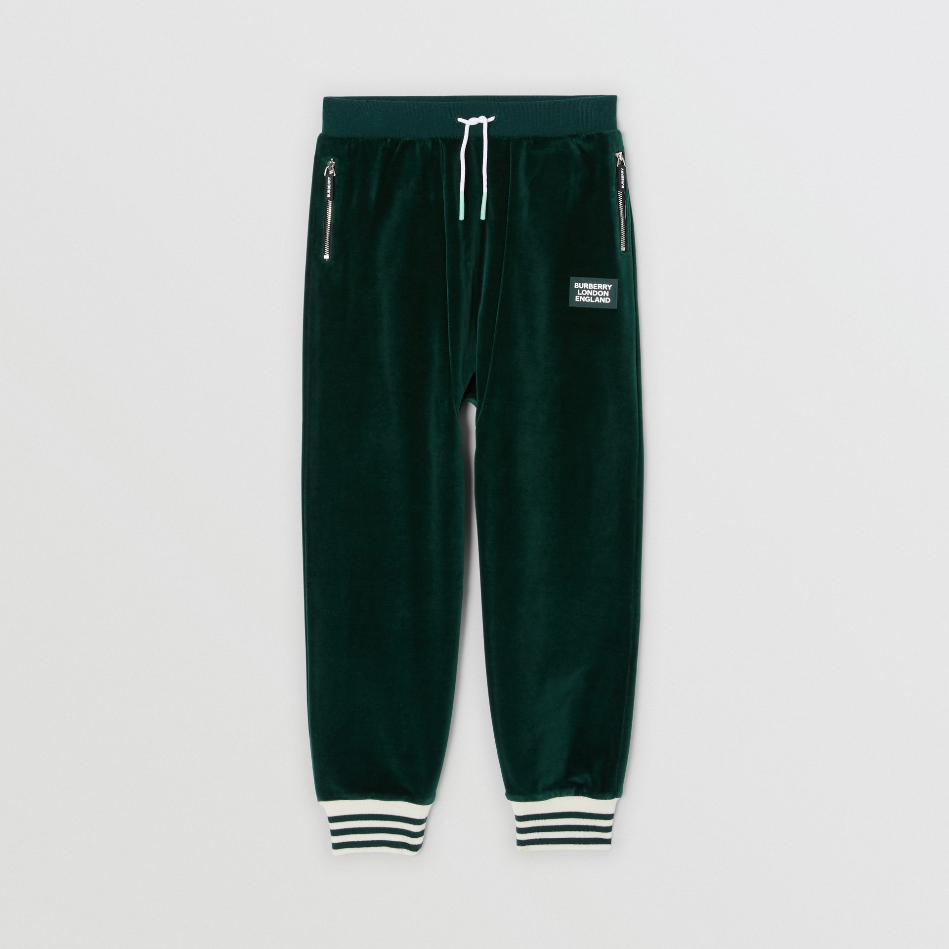Stripe Trim Velour Trackpants in Dark Pine Green | Burberry United Kingdom - gallery image 0