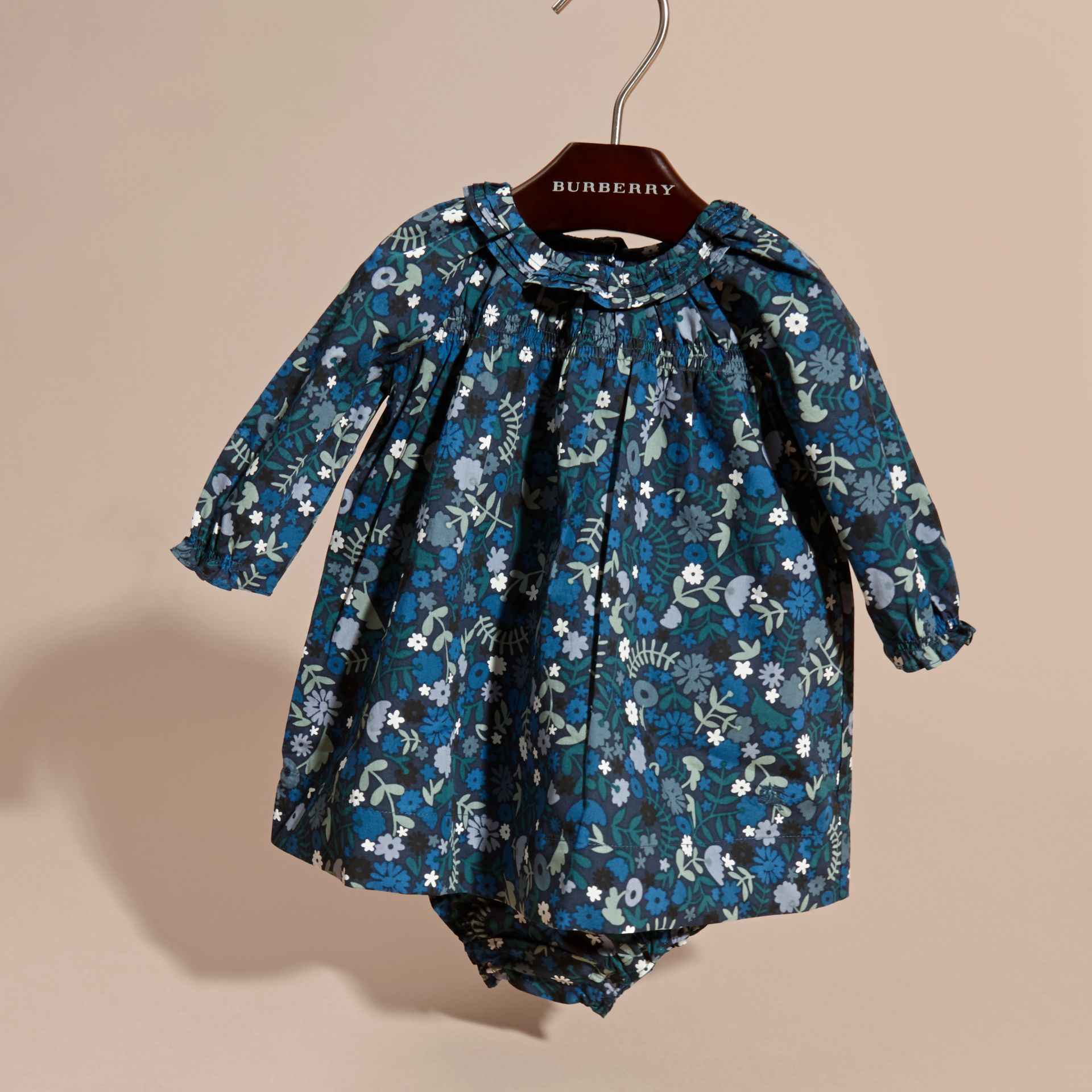 Hydrangea blue Floral Print Cotton Dress and Bloomers Hydrangea Blue - gallery image 3