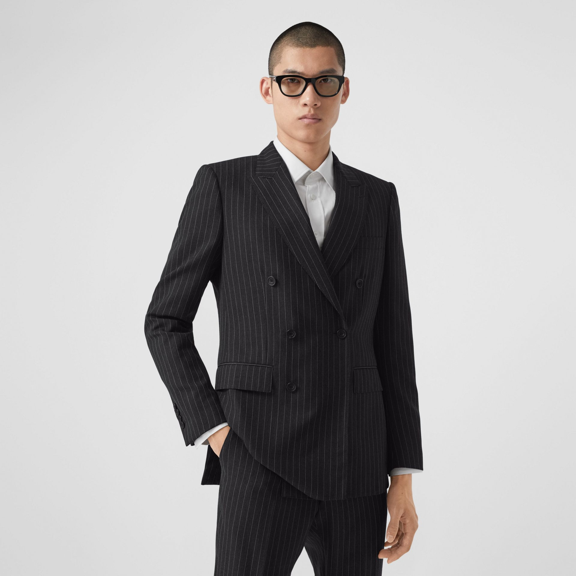English Fit Pinstriped Wool Double-breasted Suit in Charcoal - Men | Burberry - gallery image 6