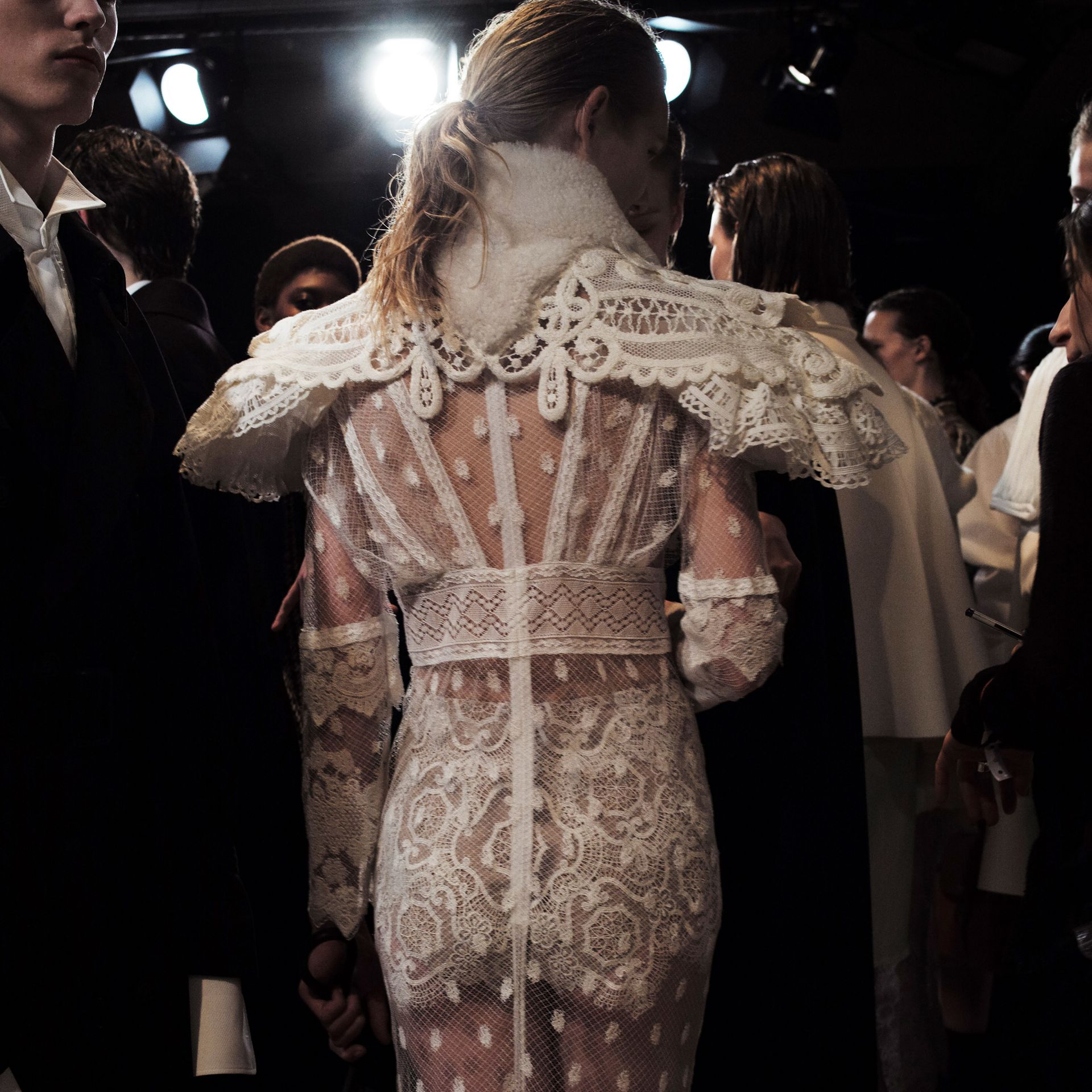 Lace Capelet with Shearling Collar in White - Women | Burberry - gallery image 7
