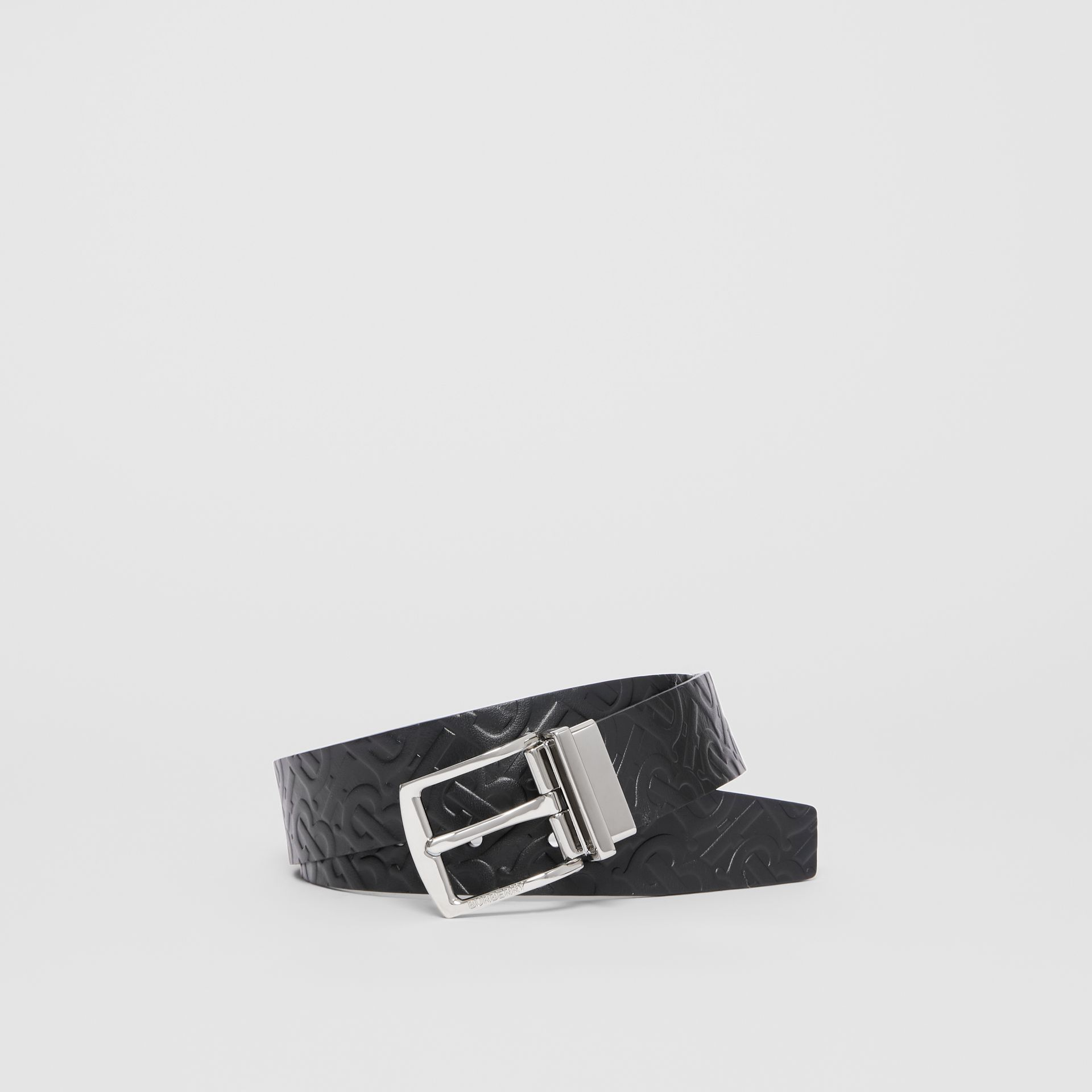 Reversible Monogram Leather Belt in Black - Men | Burberry - gallery image 0