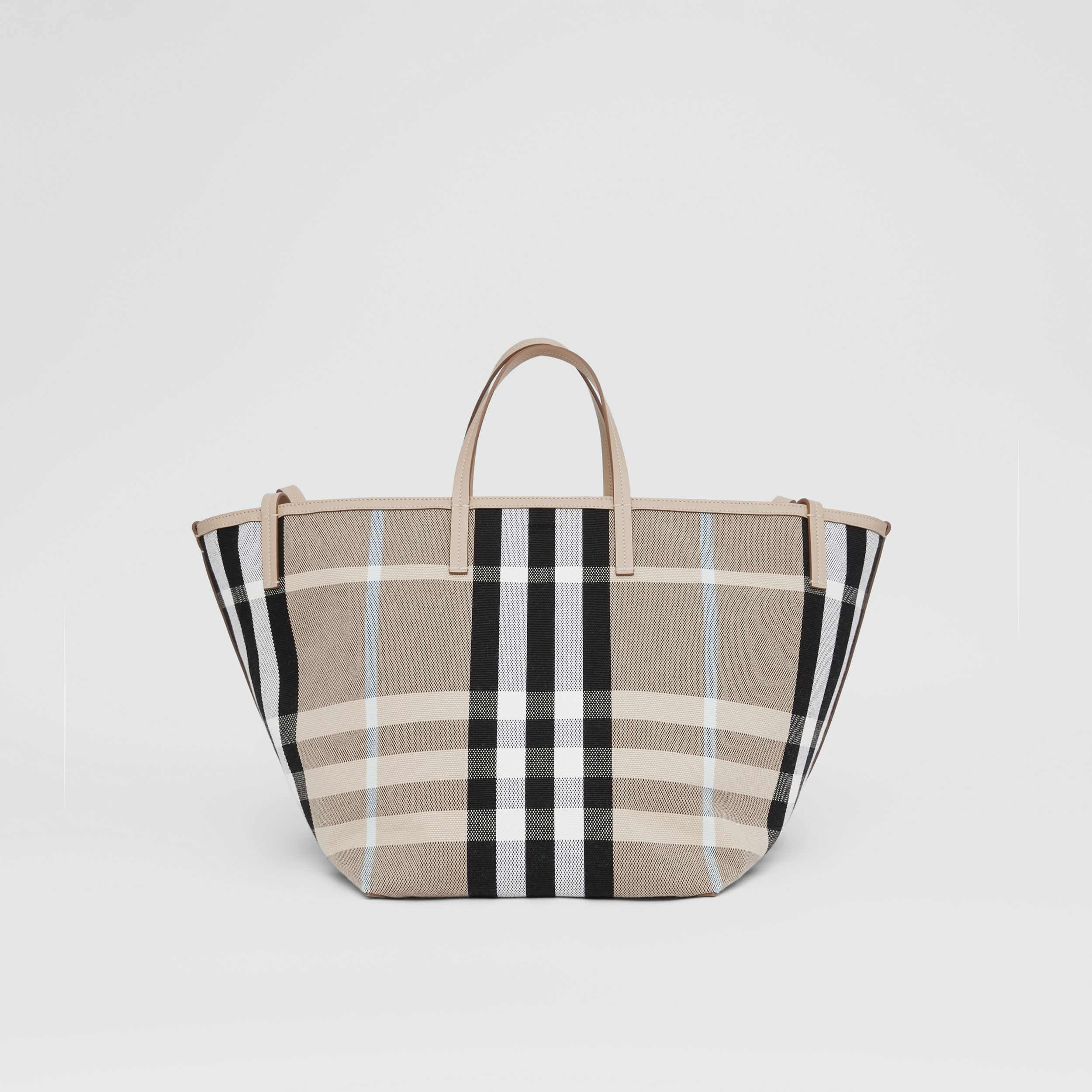 Medium Check Canvas Beach Tote in Dusty Sand/soft Fawn - Women | Burberry - 1