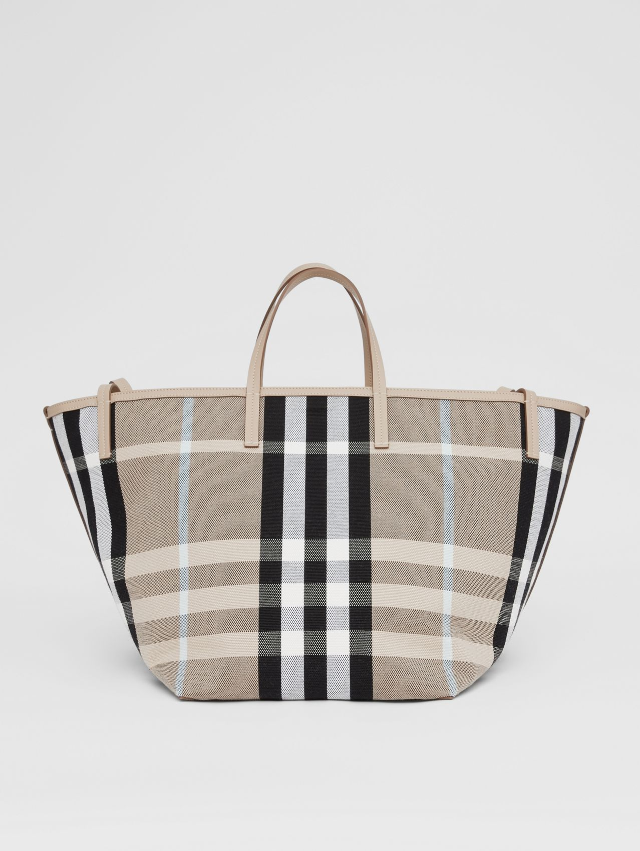 Medium Check Canvas Beach Tote in Dusty Sand/soft Fawn