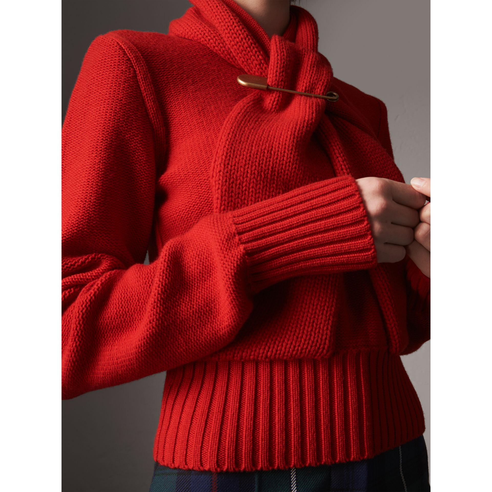 Cashmere Tie-neck Sweater in Red - Women | Burberry United Kingdom - gallery image 2