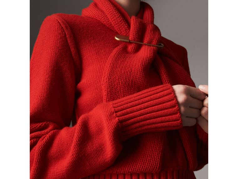 Cashmere Tie-neck Sweater in Red - Women | Burberry - cell image 1