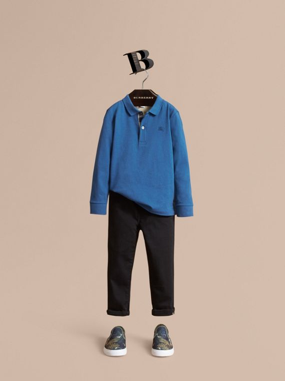Long-sleeve Cotton Jersey Polo Shirt in Marine Blue - Boy | Burberry Singapore