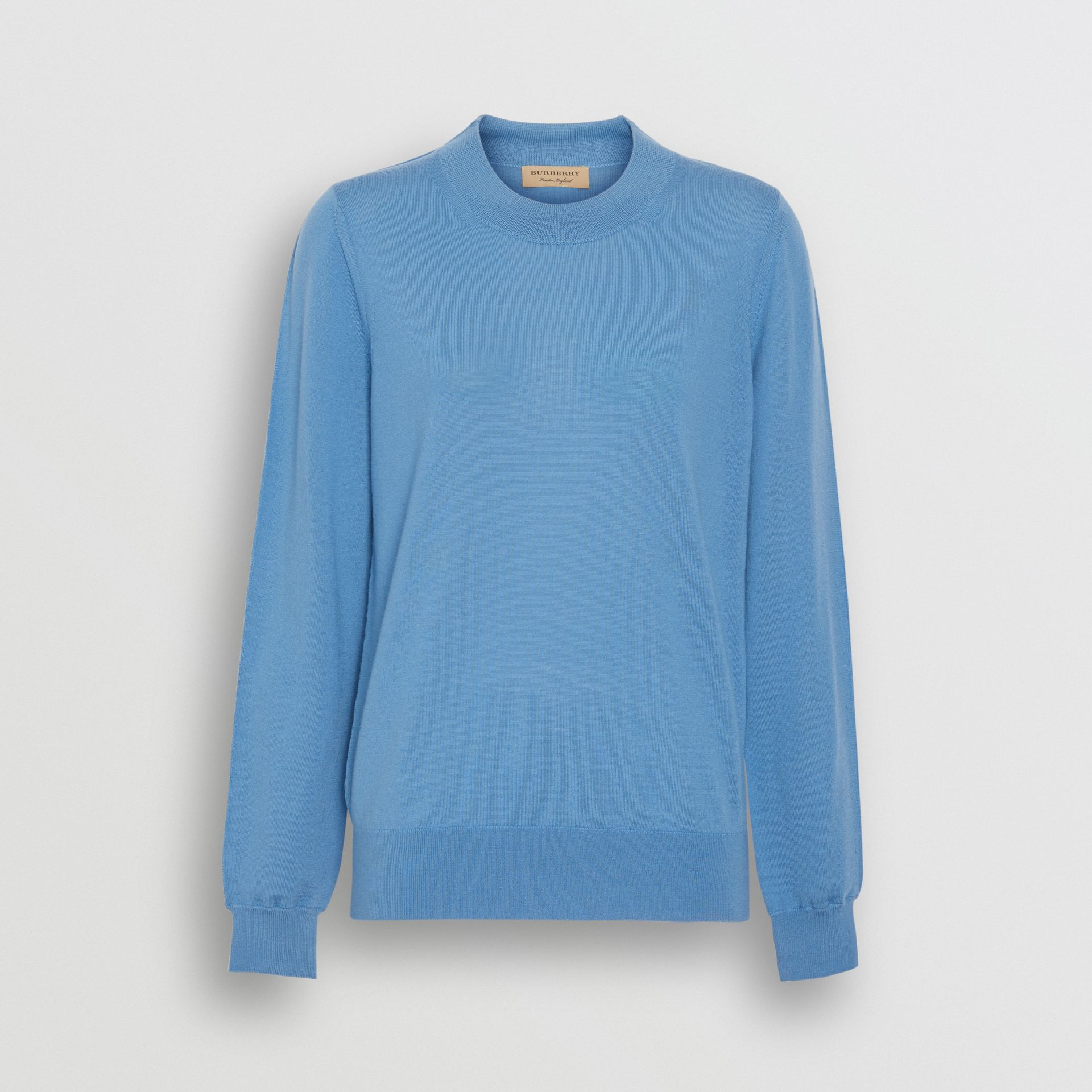Logo Detail Merino Wool Sweater in Pebble Blue - Women | Burberry - gallery image 3