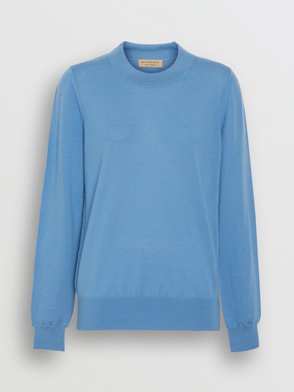 Logo Detail Merino Wool Sweater in Pebble Blue - Women | Burberry - cell image 3