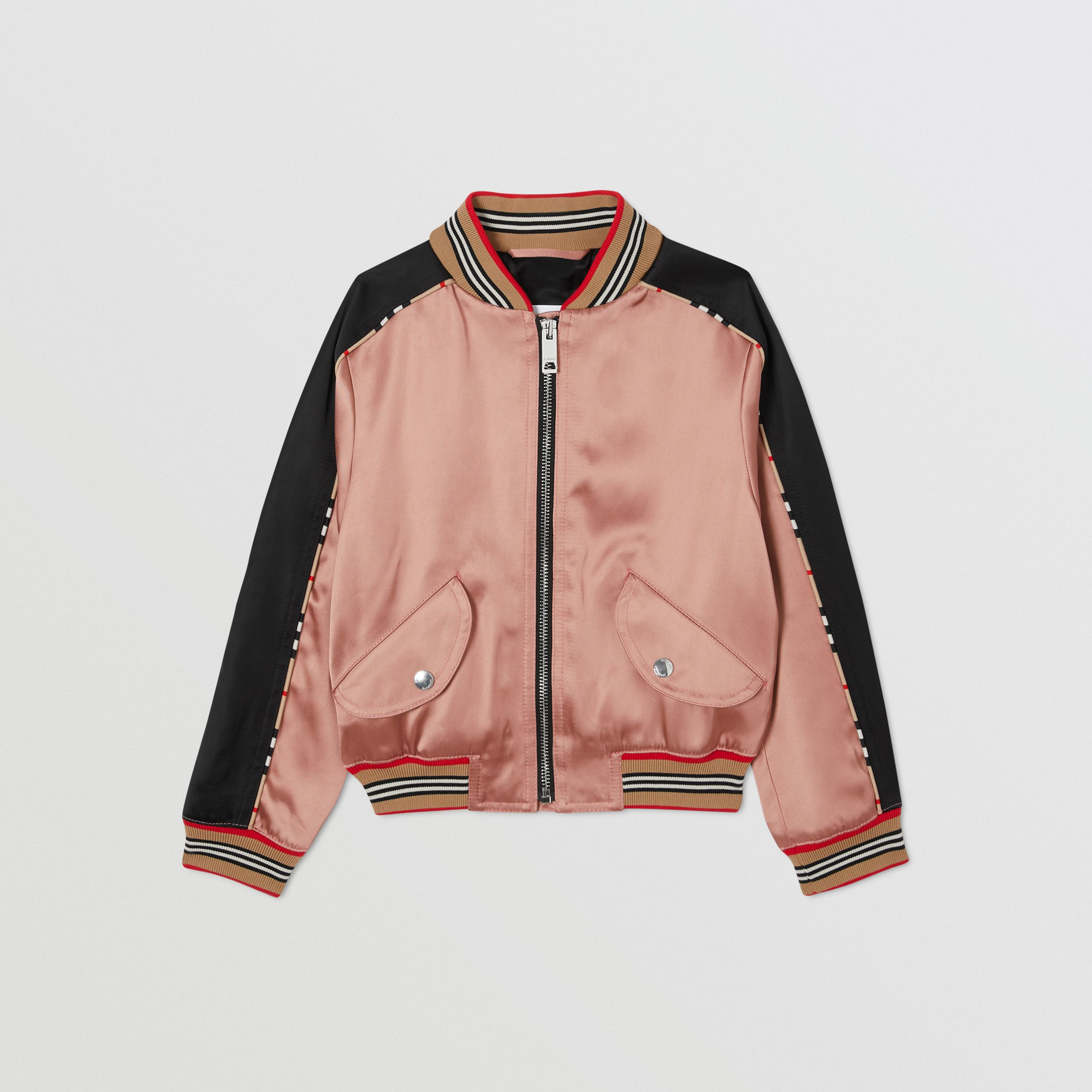 Deer Motif Sateen Bomber Jacket in Dusty Pink | Burberry - 1