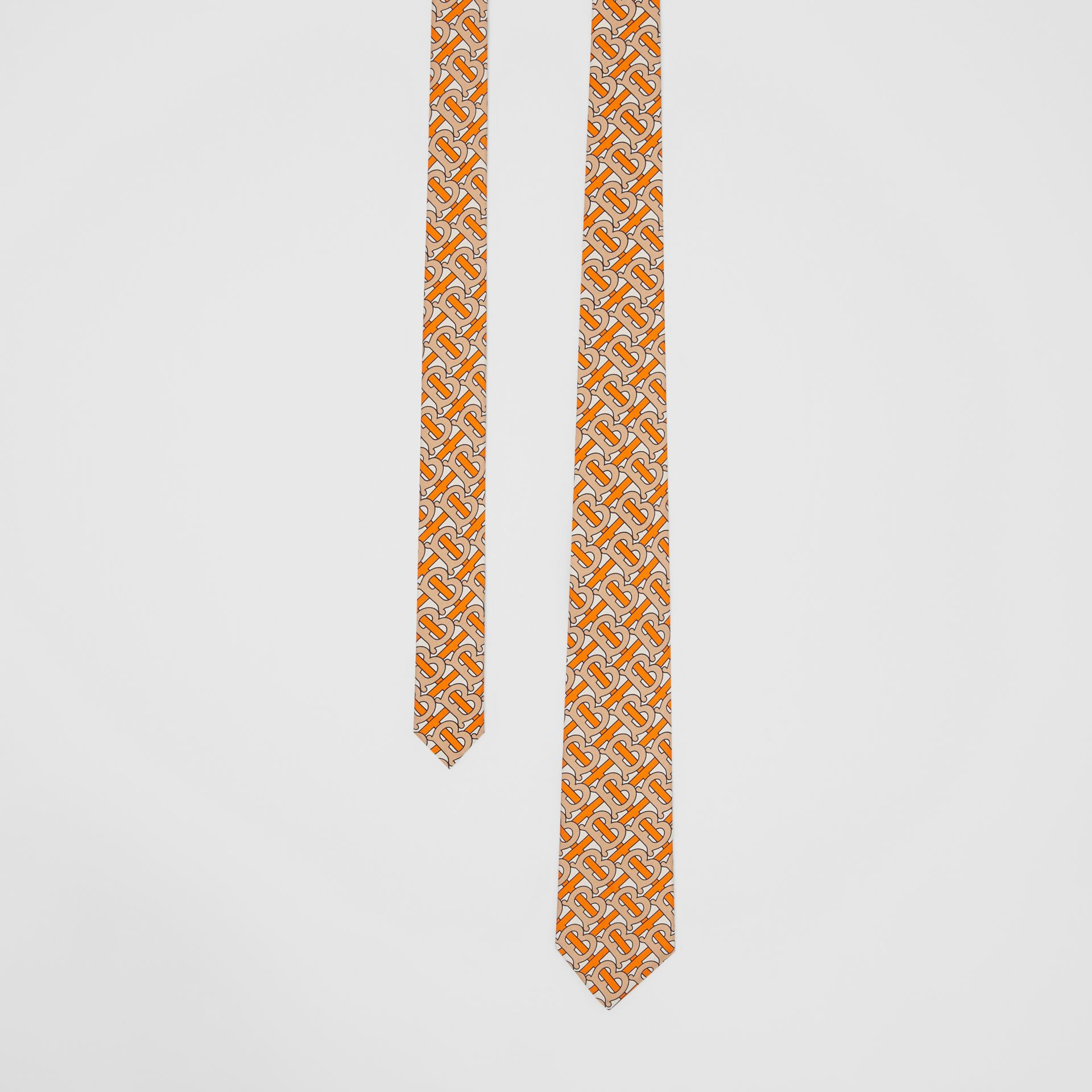 Classic Cut Monogram Print Silk Tie in Bright Orange - Men | Burberry Canada - gallery image 0