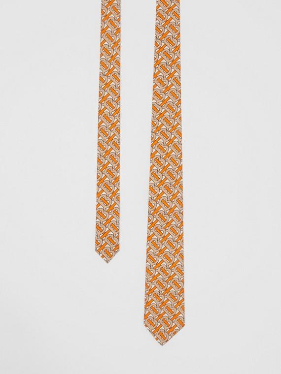 Classic Cut Monogram Print Silk Tie in Bright Orange