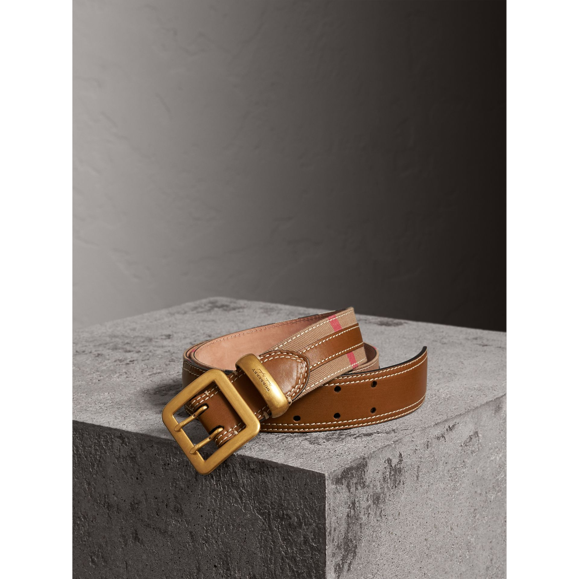 Topstitched House Check and Leather Belt in Sienna Brown - Women | Burberry - gallery image 0