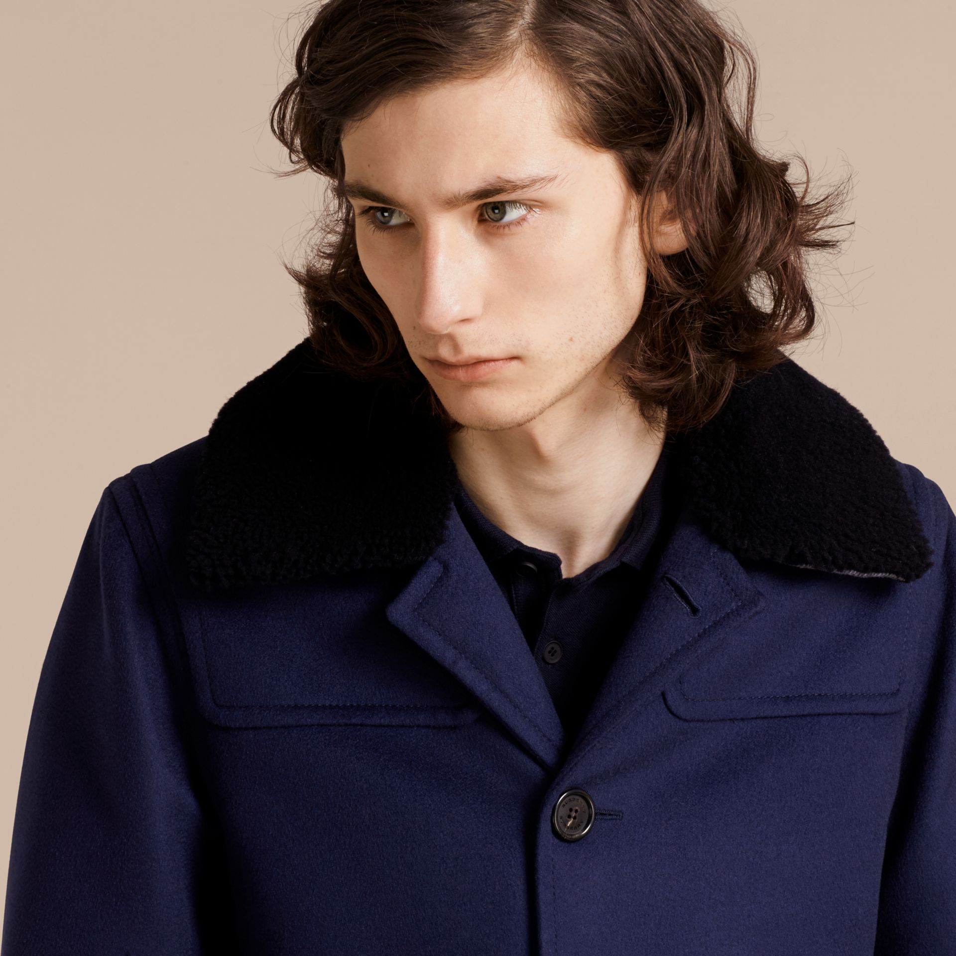 Blueberry Cashmere Donkey Jacket with Detachable Shearling Collar - gallery image 6